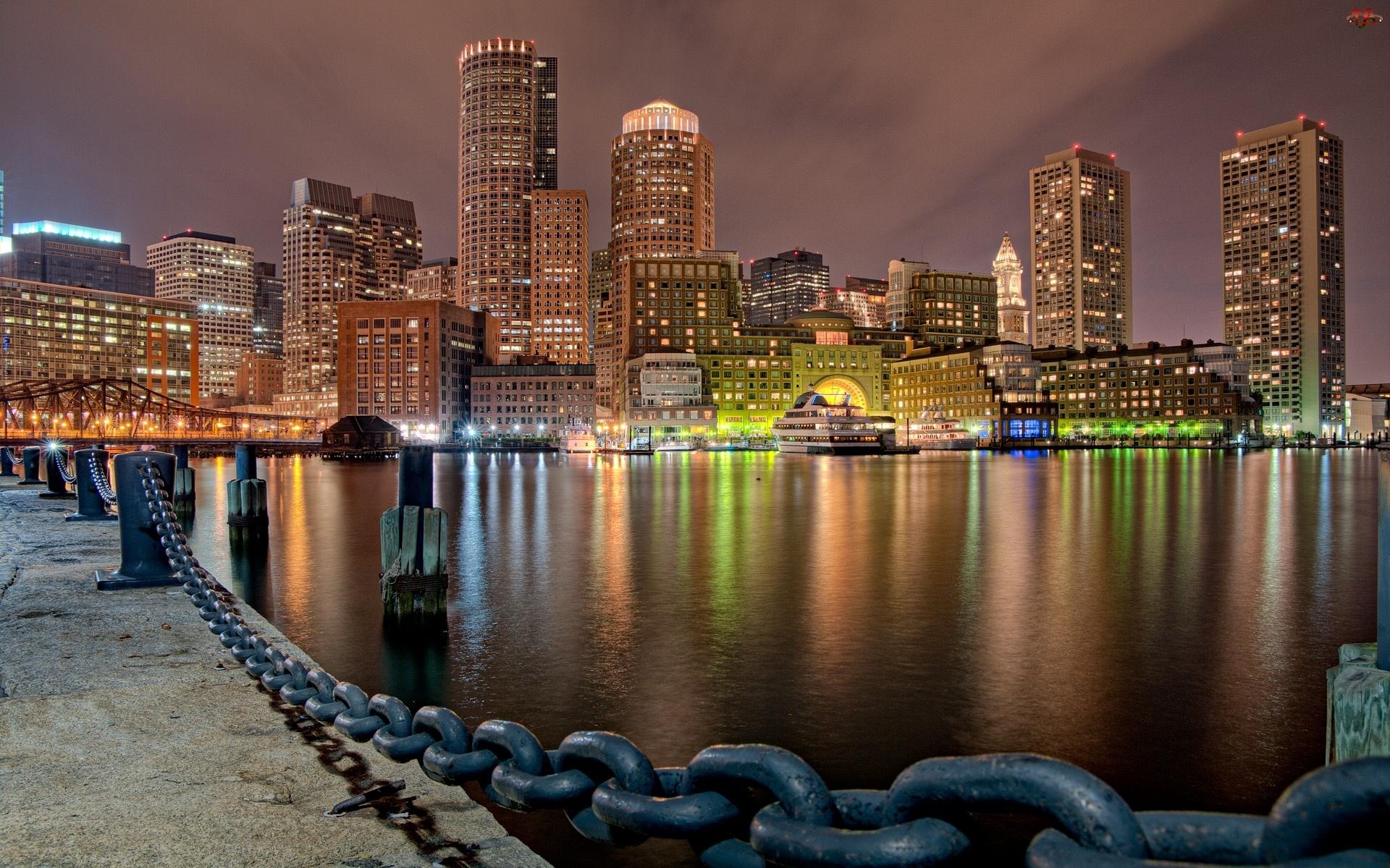 Port, Światła, Panorama, Boston, Misto, Noc