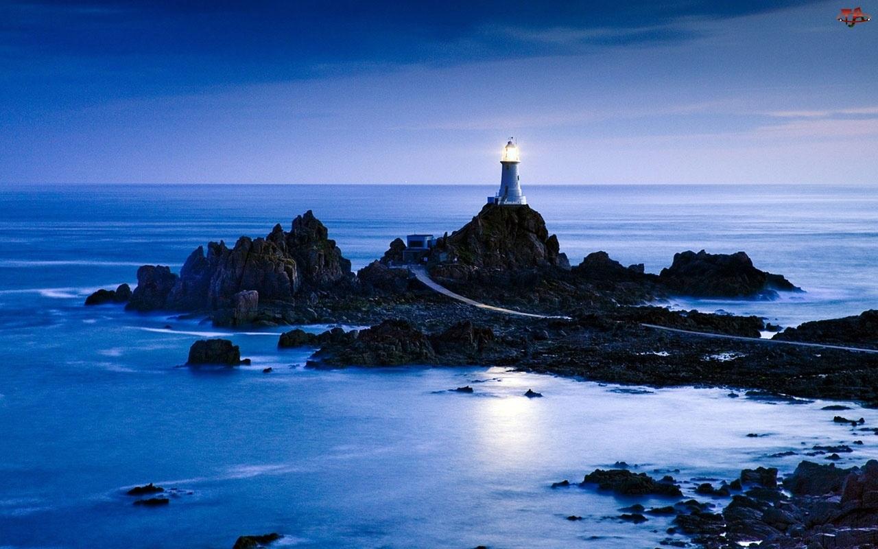 Skały, Latarnia Morska, Droga, Ocean, Islandia