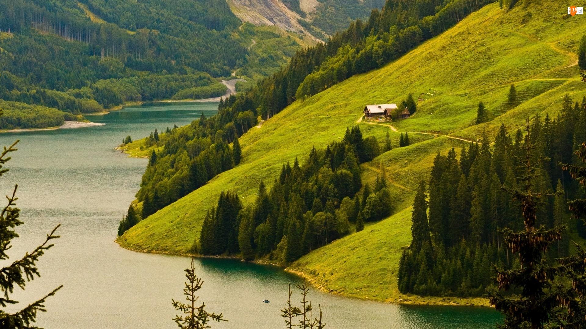 Domki, Rzeka, Zbocze, Drzewa, Góry