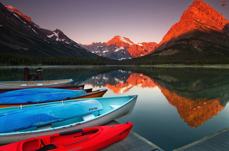 Góry, Kolory, Jezioro, Łódki