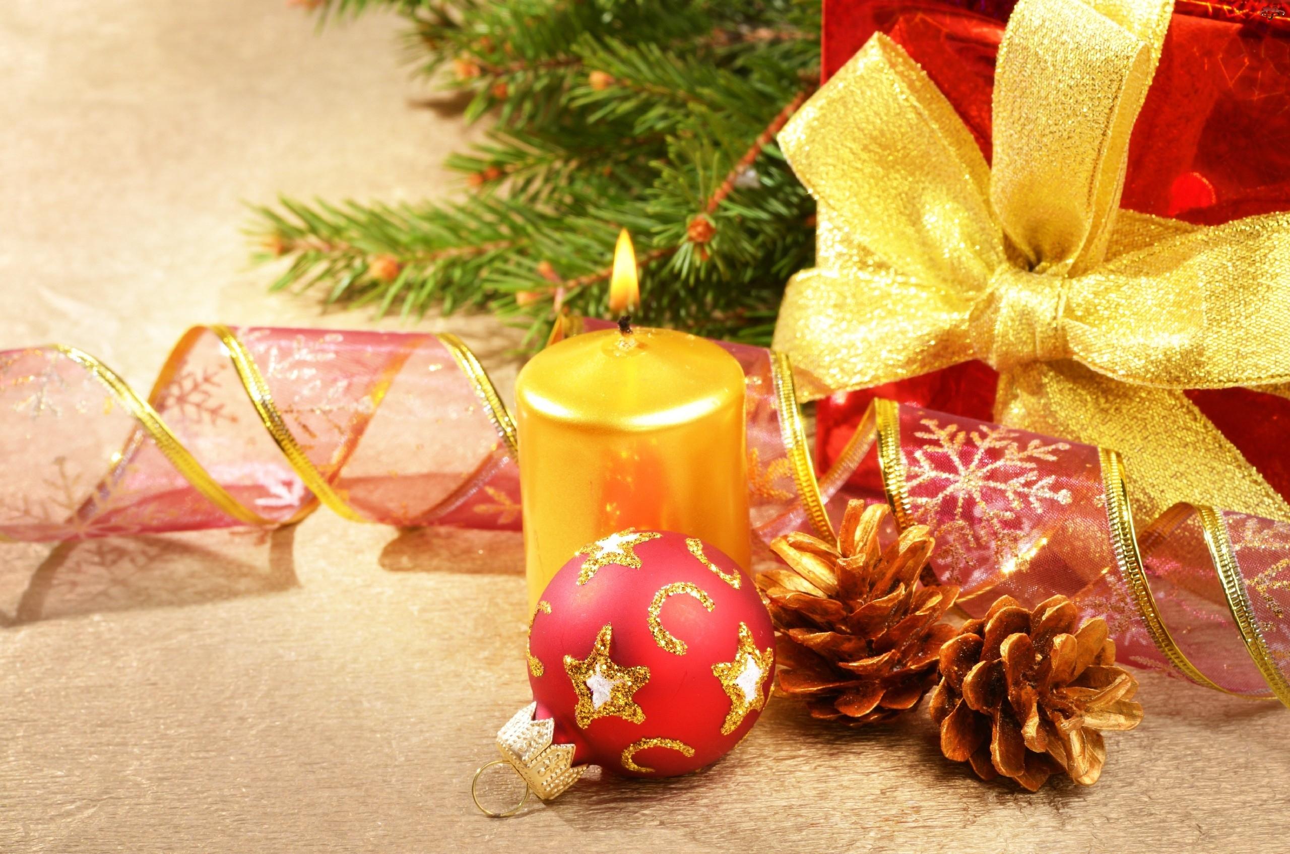 Kompozycja, Świeczka, Stroik, Wstążki, Boże Narodzenie