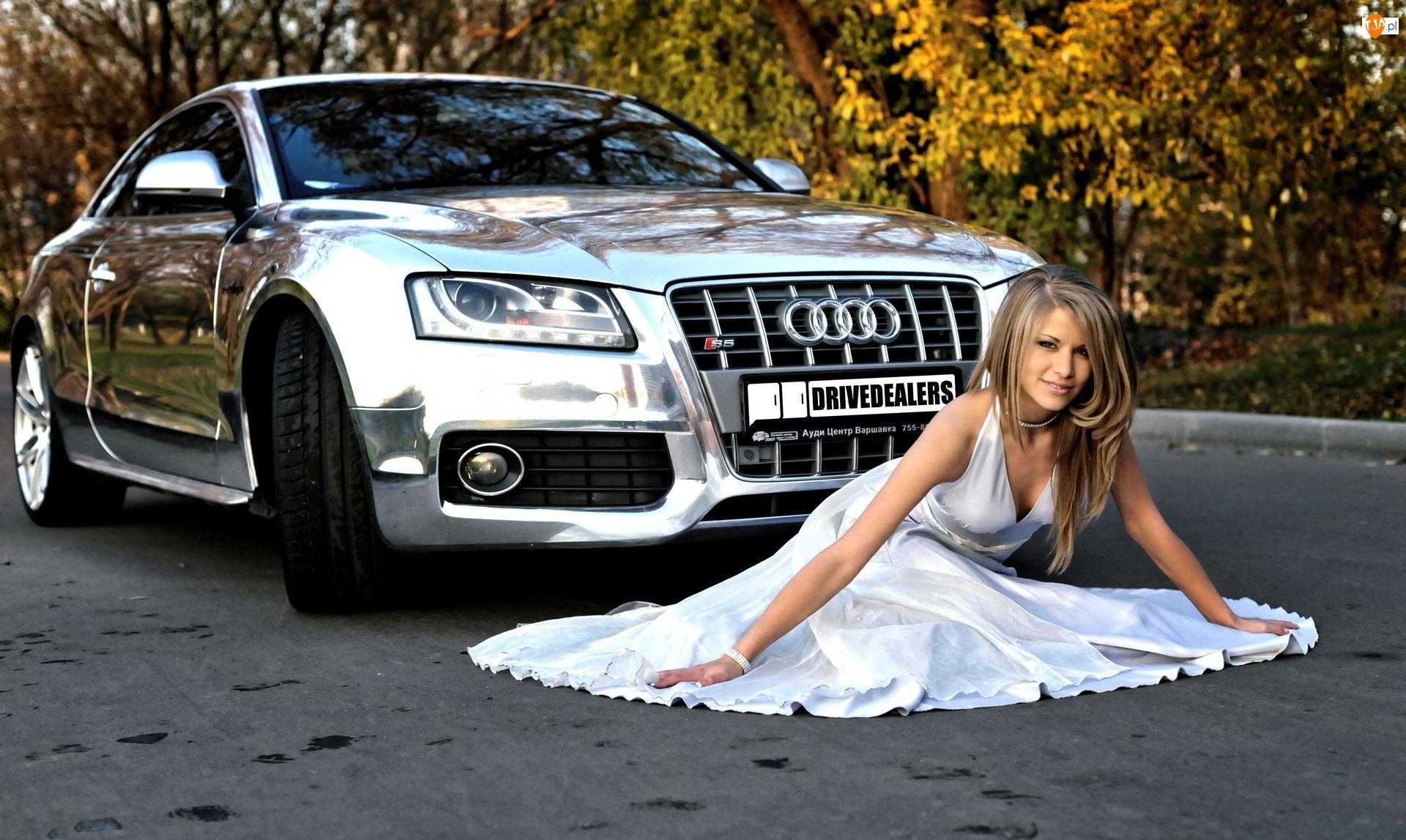 Audi S5, Kobieta, Chrom, Piękna