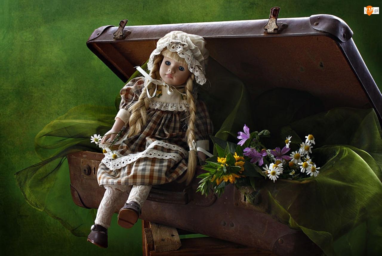 Walizka, Lalka, Kwiaty