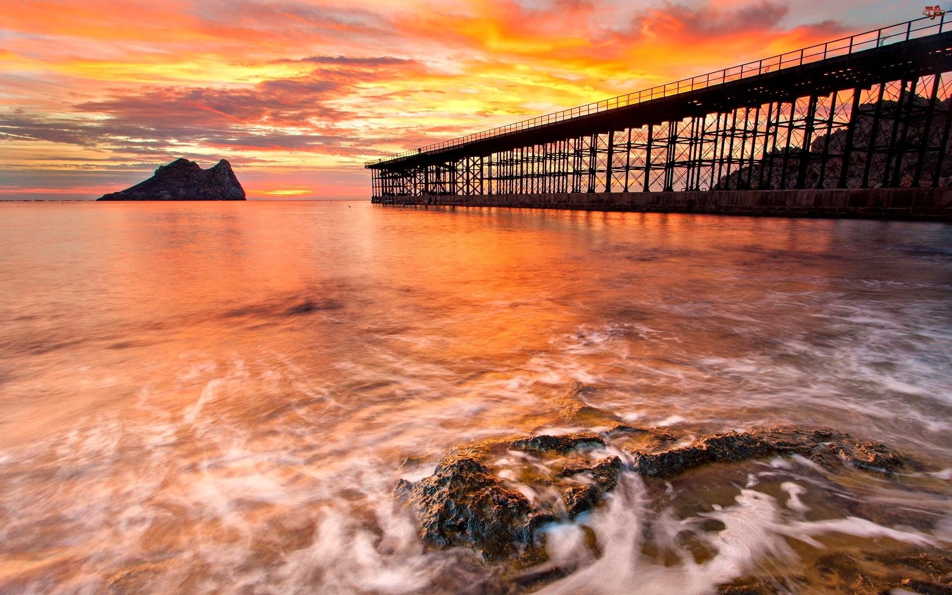Most, Zachód Słońca, Morze