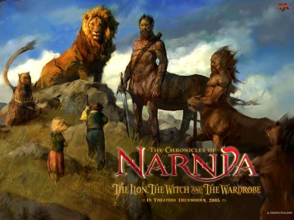 centaur, The Chronicles Of Narnia, dzieci, lew, napis