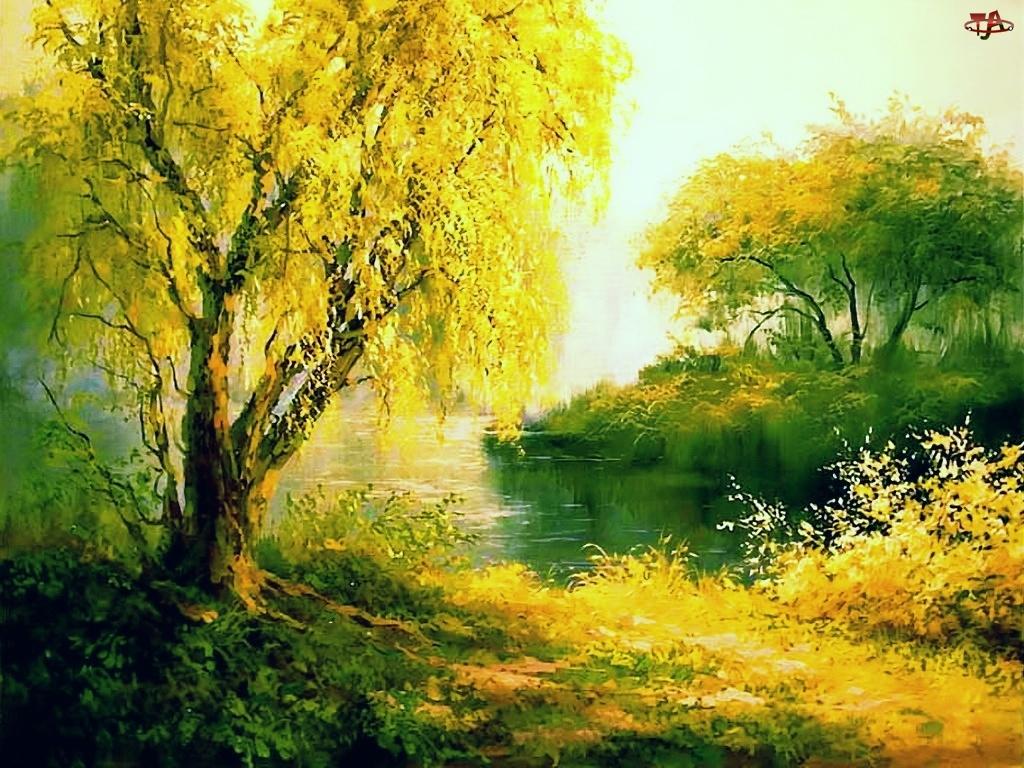 Malarstwo, Drzewa, Jesień, Staw, Widoczek
