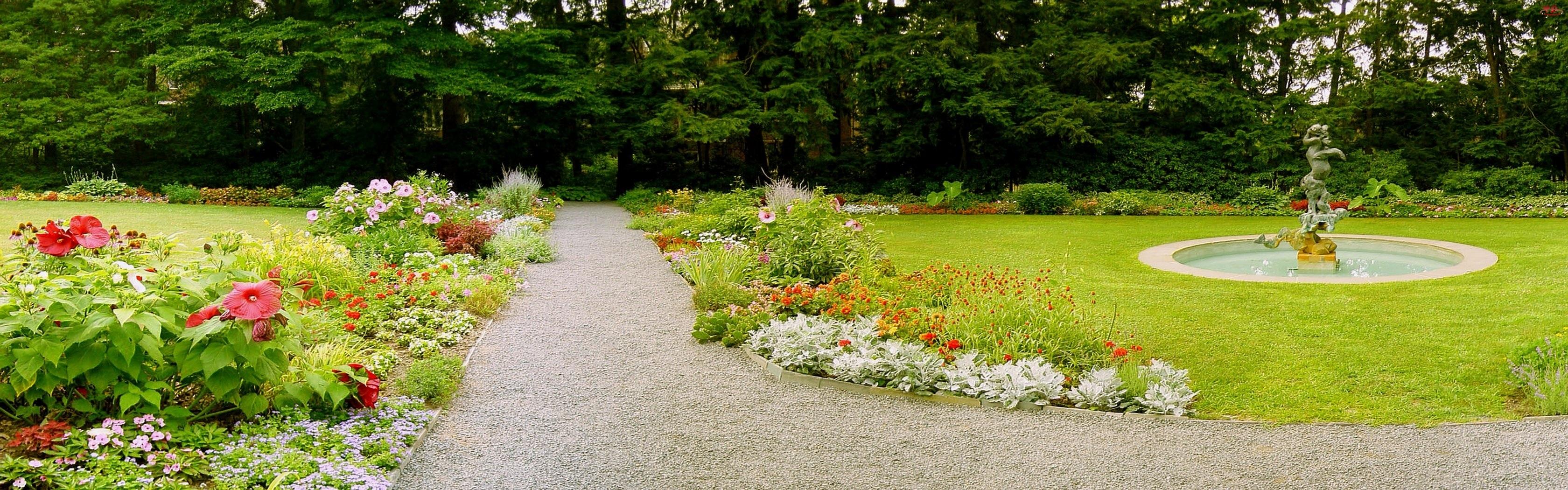 Ogród, Fontanna, Kwiaty, Zieleń