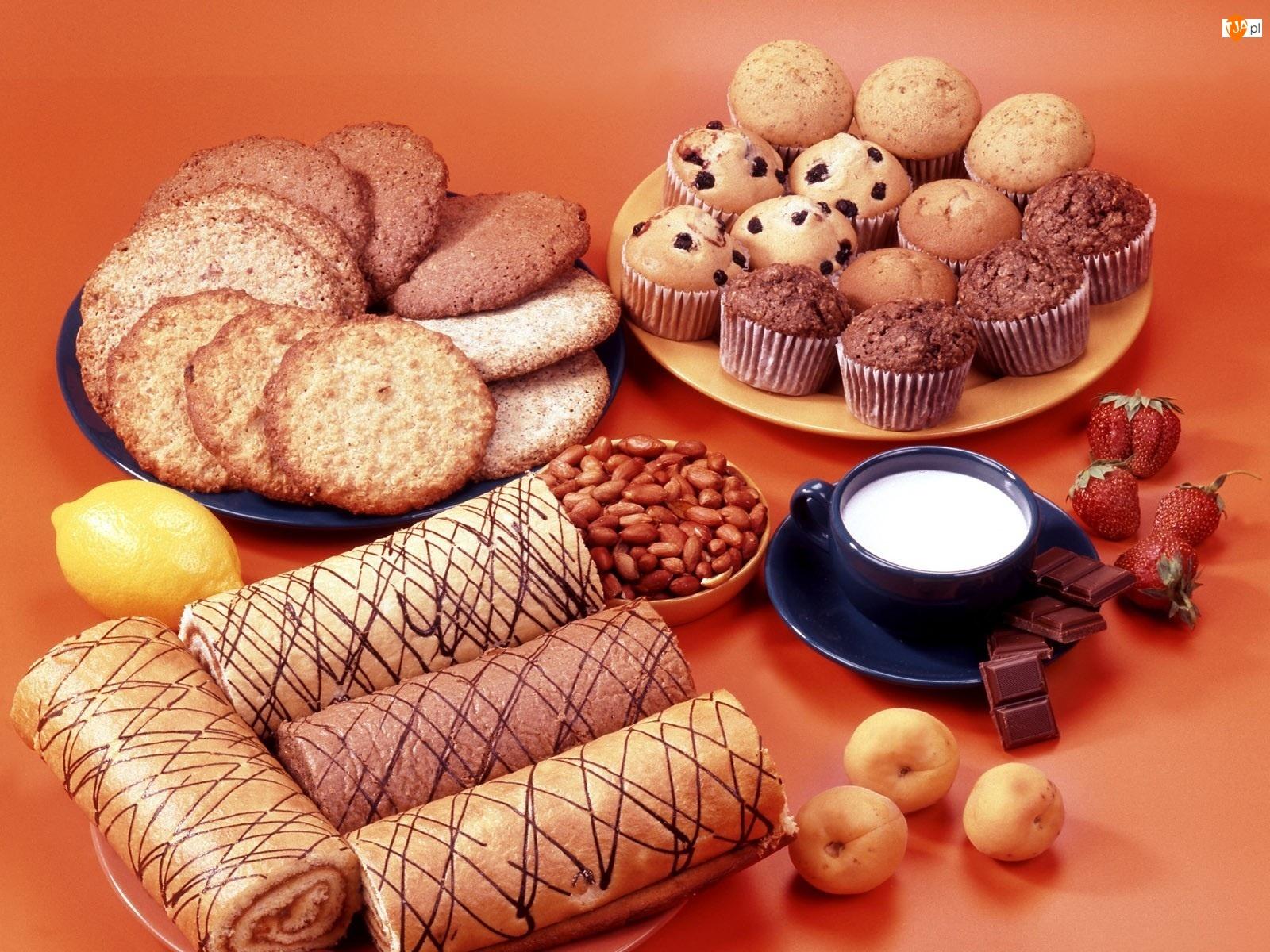 Babeczki, Ciasteczka, Mleko, Muffinki, Orzeszki