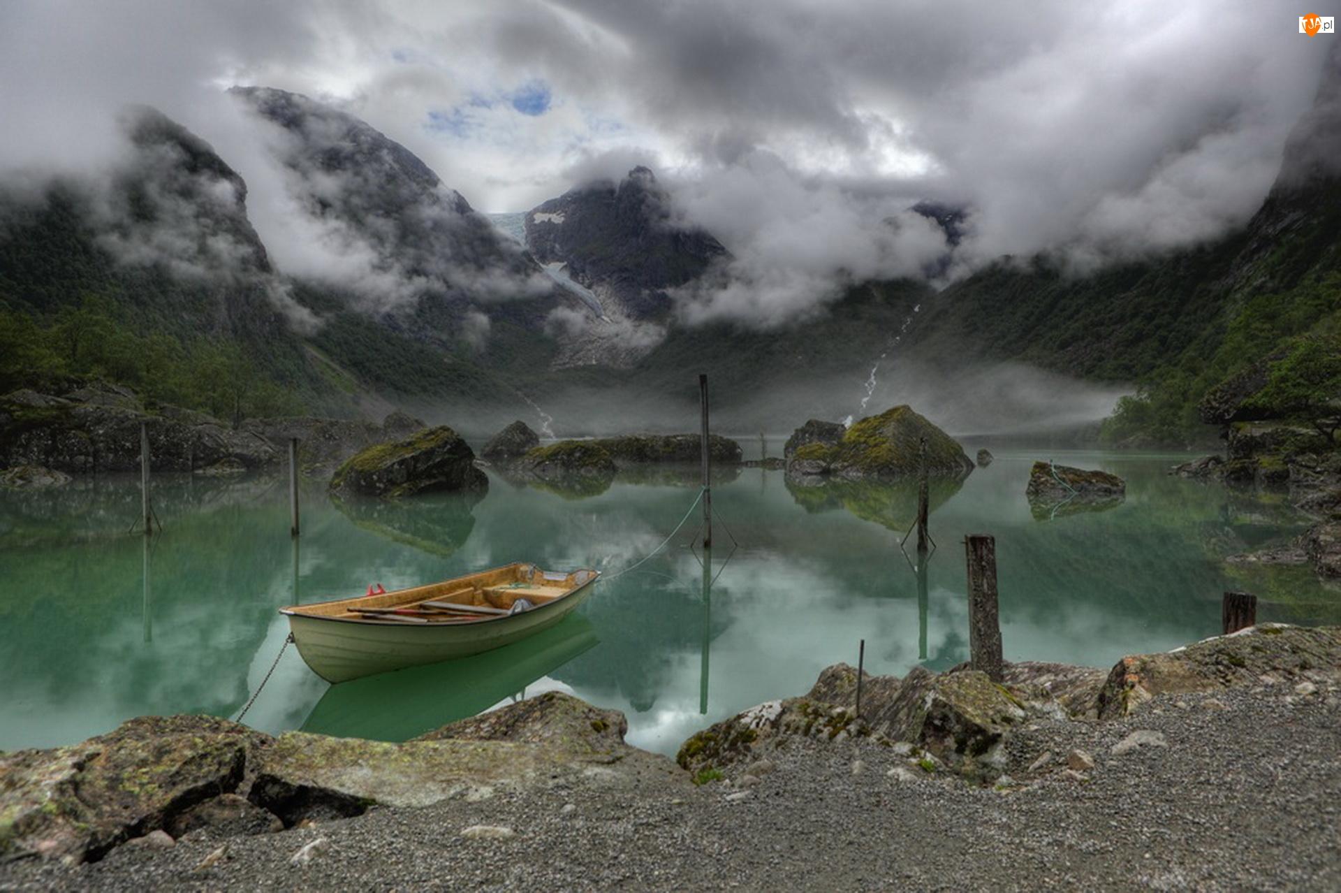 Łódka, Jezioro, Norwegia, Bondhus, Kamienie