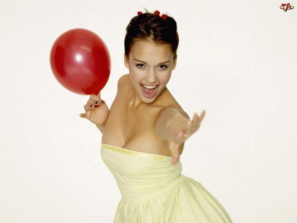 suknia, Jessica Alba, balon, czerwony, kremowa