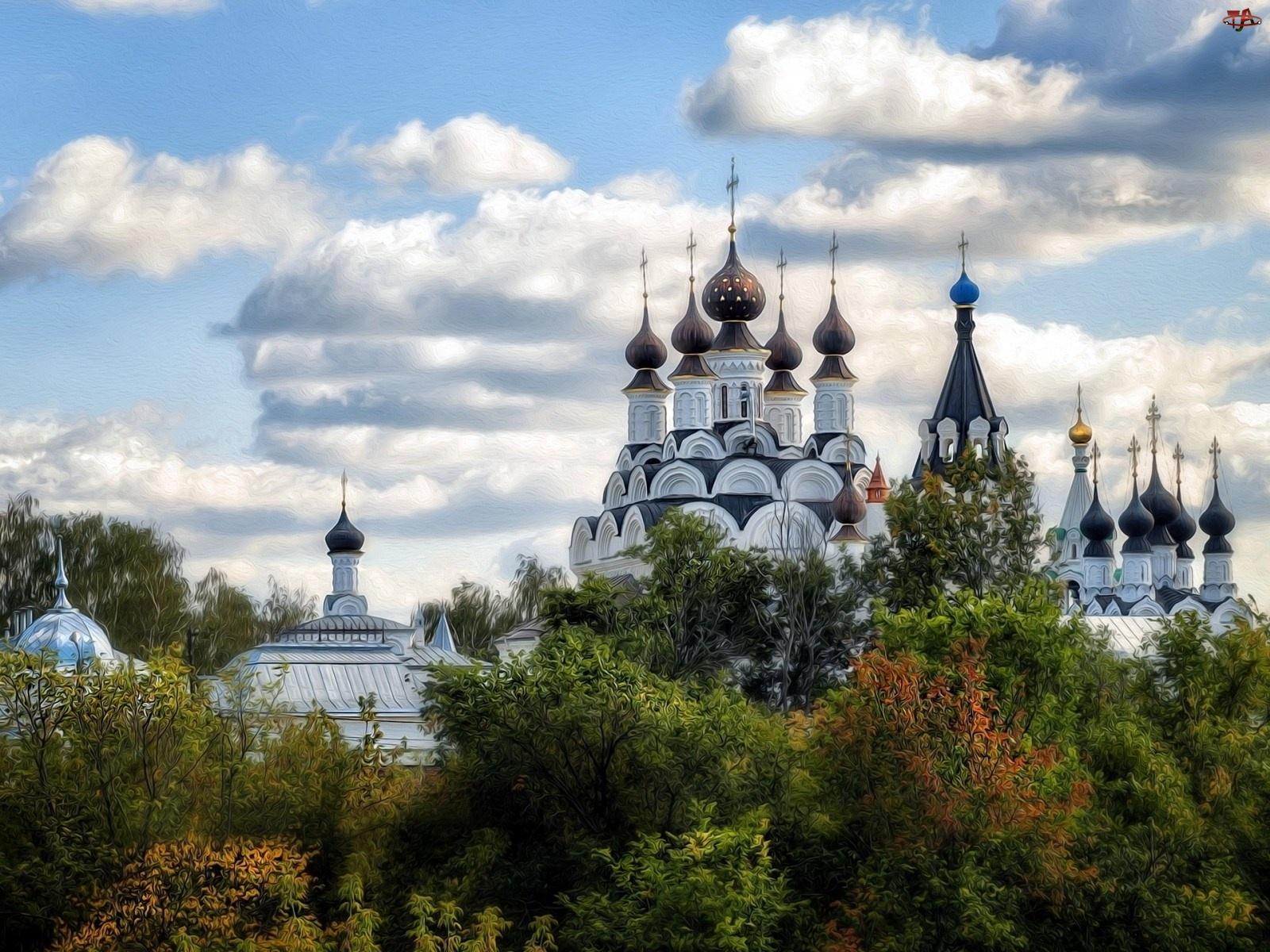 Cerkiew, Art, Chmury, Zieleń