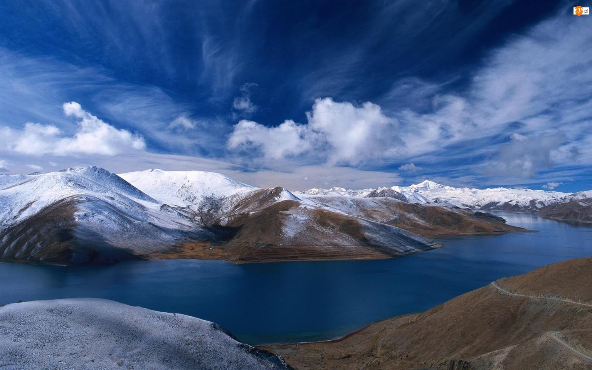 Norwegia, Jezioro, Góry, Ośnieżone, Chmury