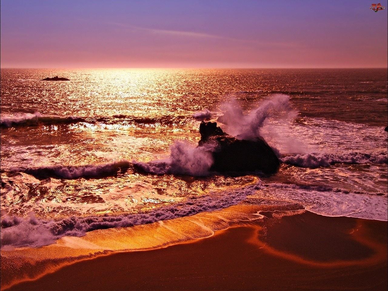 Morze, Zachód Słońca, Plaża, Fale