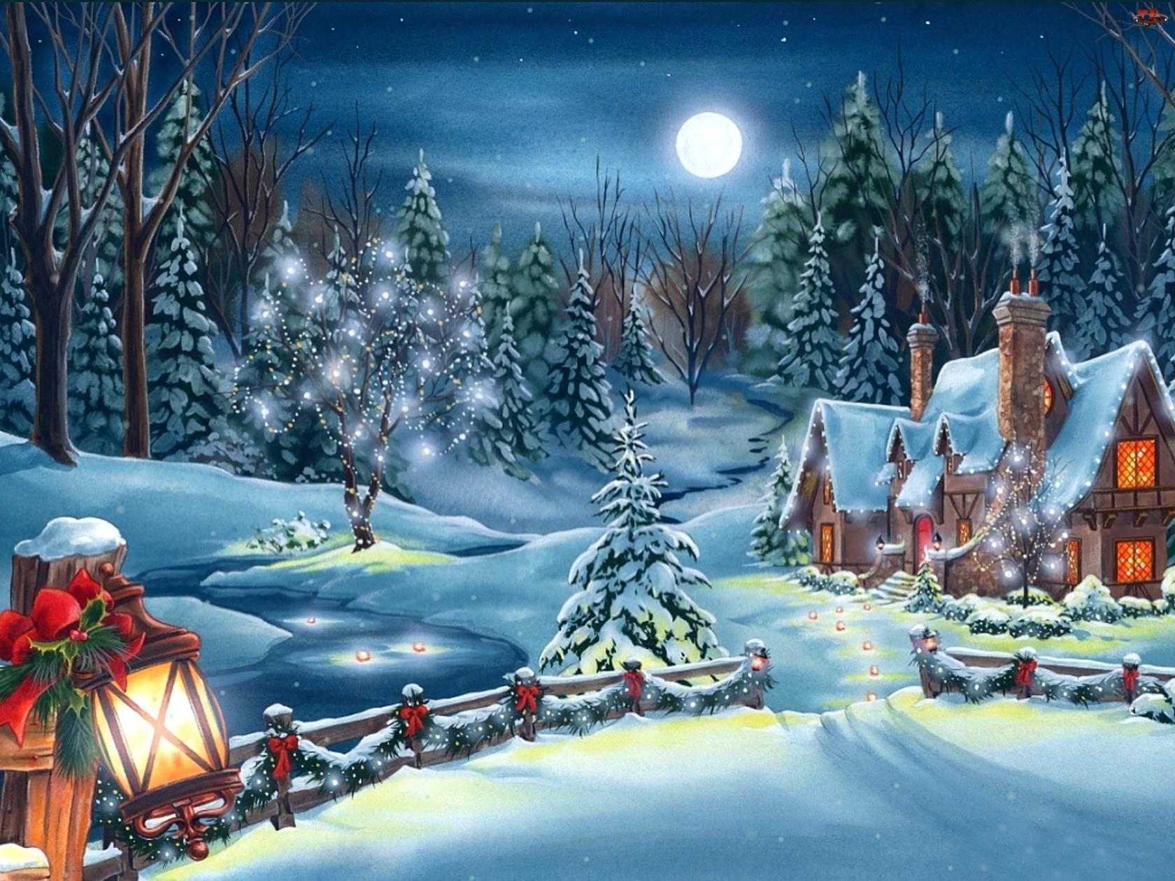 Zima, Narodzenie, Widoczek, Malarstwo, Świąteczny, Boże