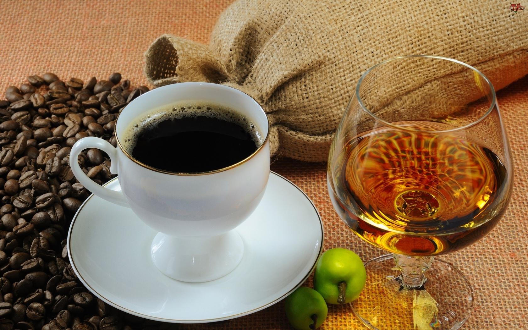 Kawa, Koniak, Filiżanka, Ziarna
