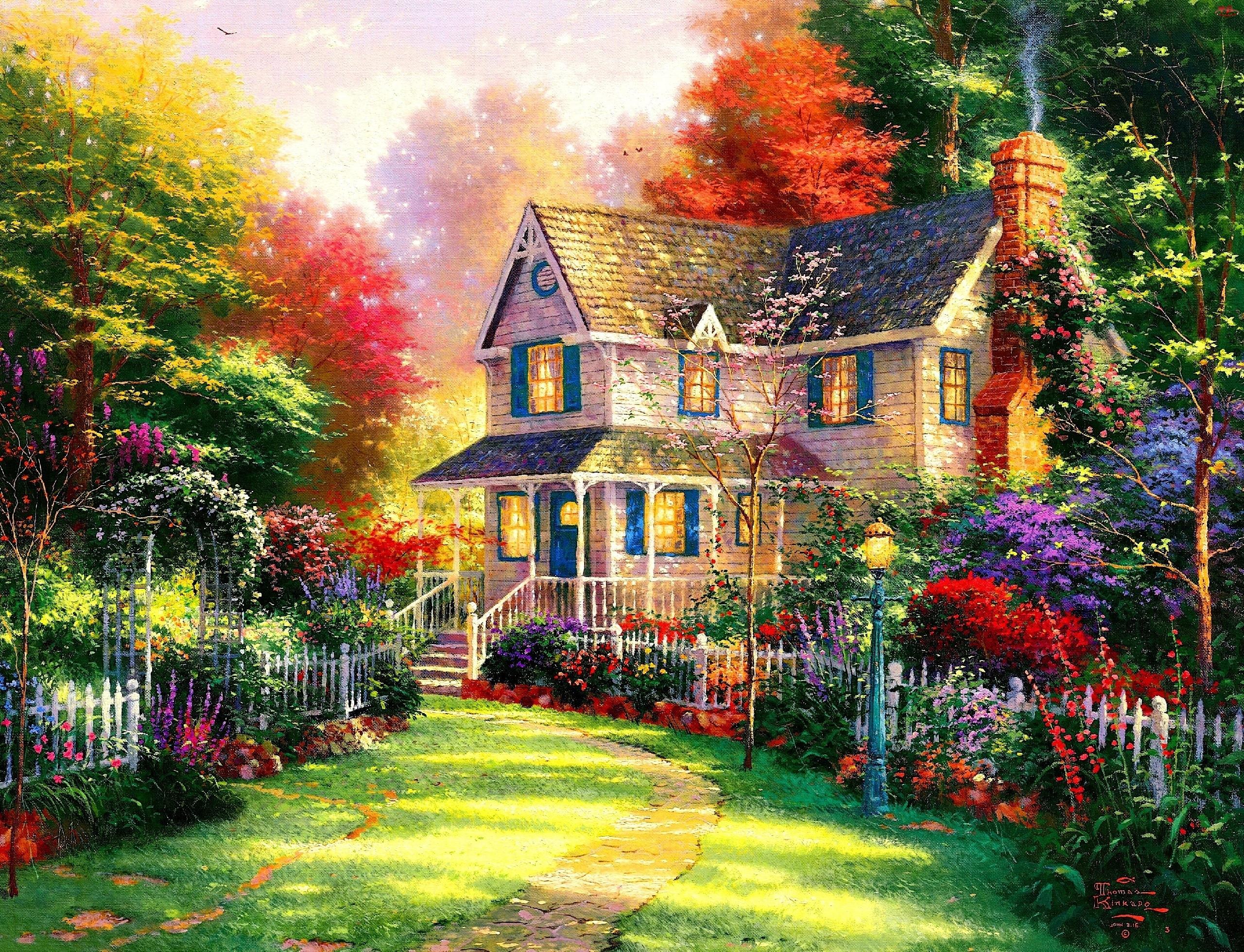Drzewa, Kwiaty, Dom, Obraz, Kolorowe, Krzewy