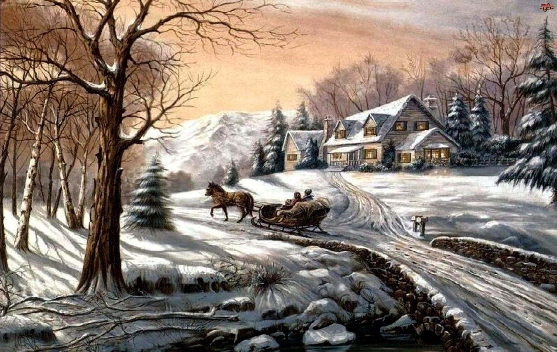 Zimowy, Malarstwo, Widoczek, Zima