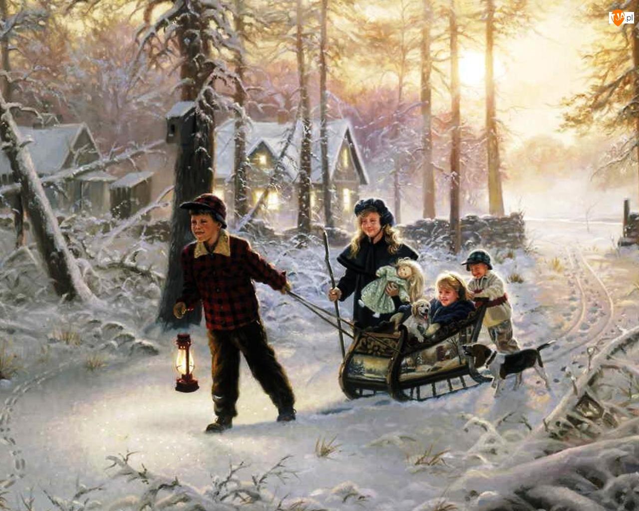Dzieci, Malarstwo, Sanki, Zima