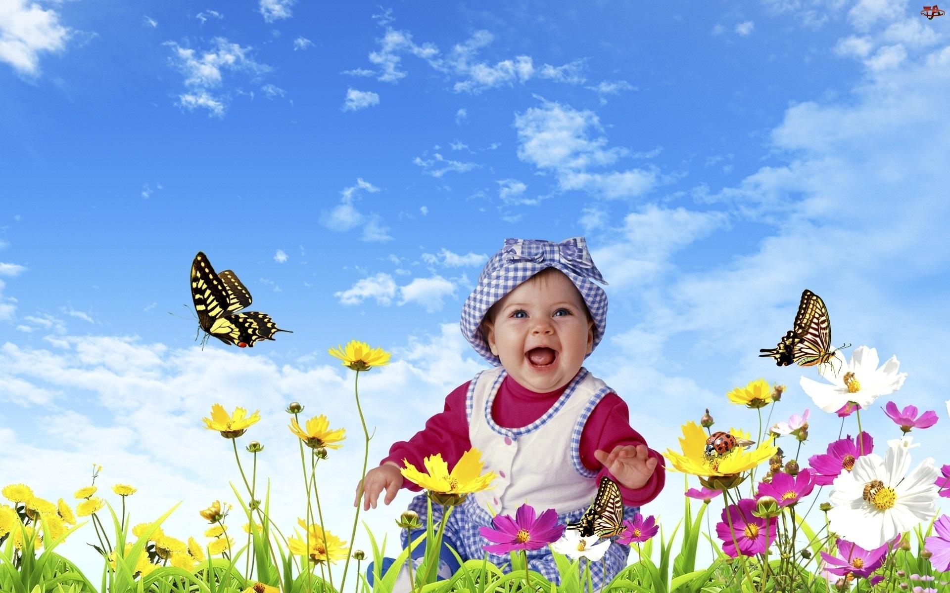 Mała, Motyle, Dziewczynka, Łąka
