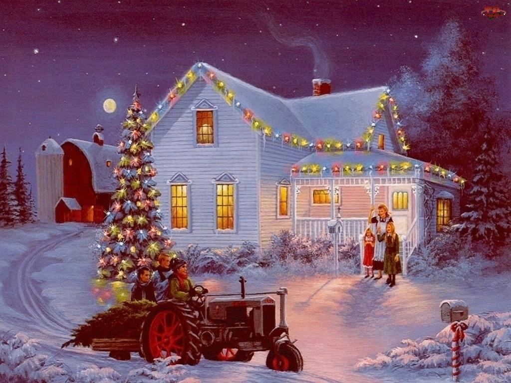 Malarstwo, Zima, Boże, Widoczek, Narodzenie