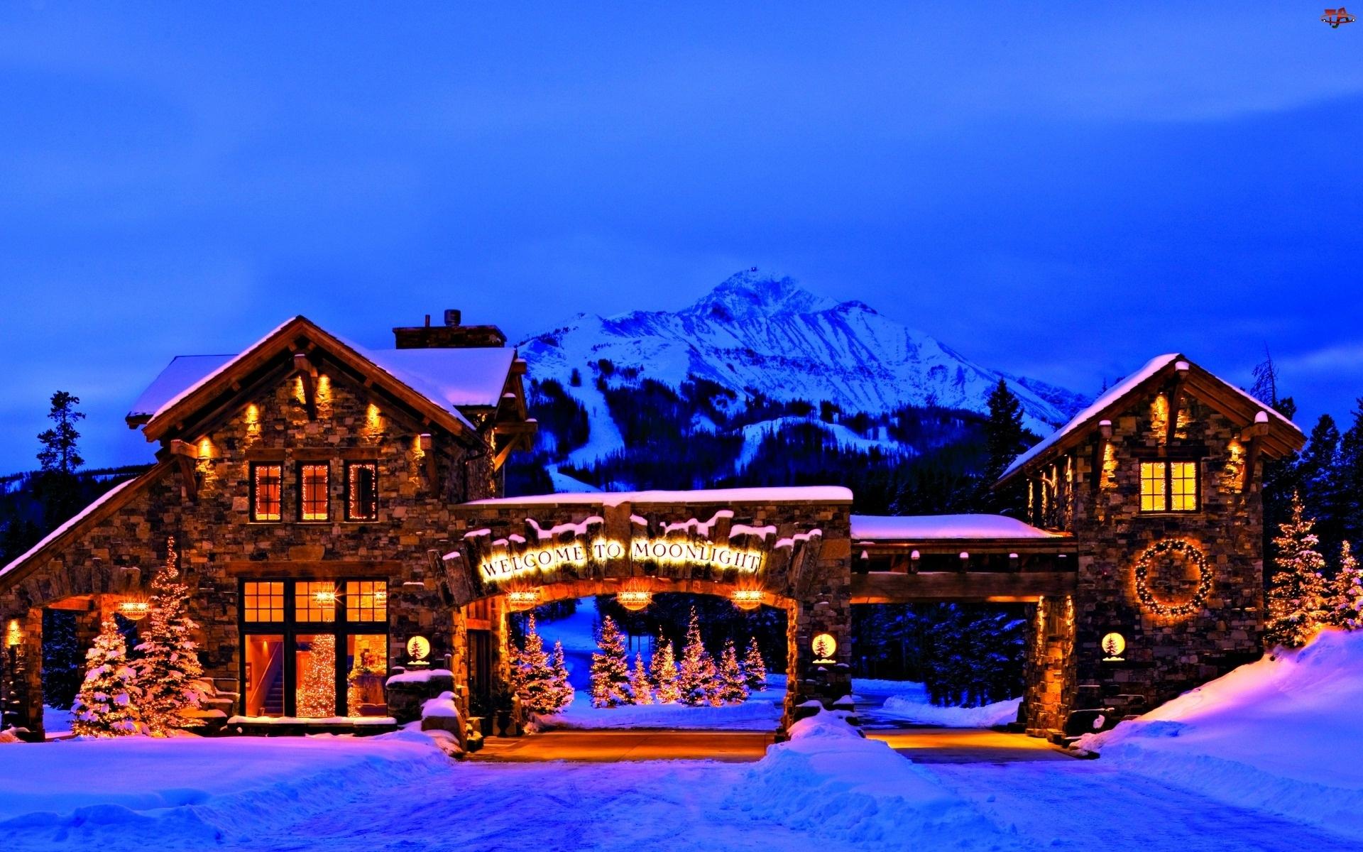 Góry, Dom, Zima, Oświetlony
