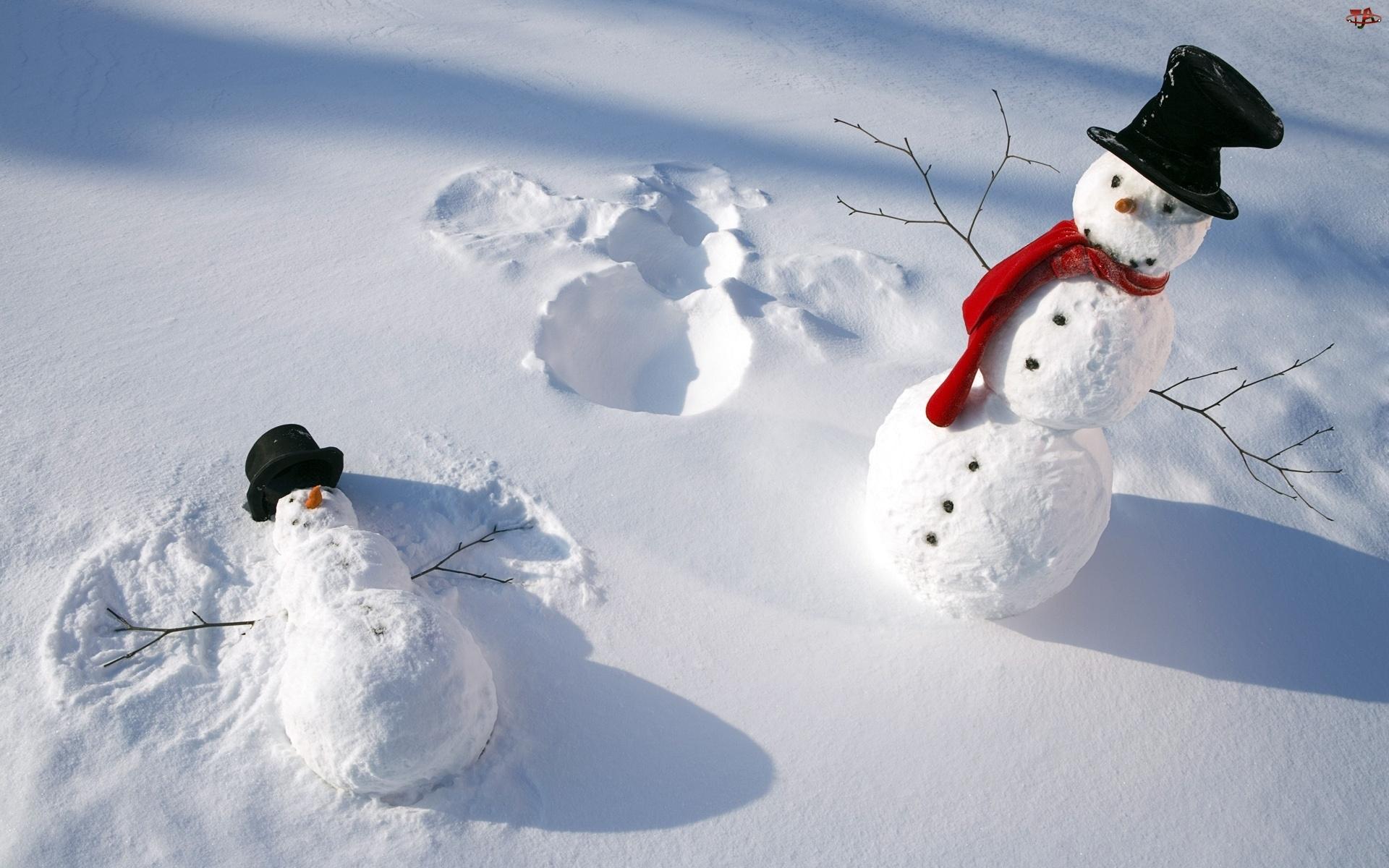Dwa, Śnieg, Bałwanki, Cylindry