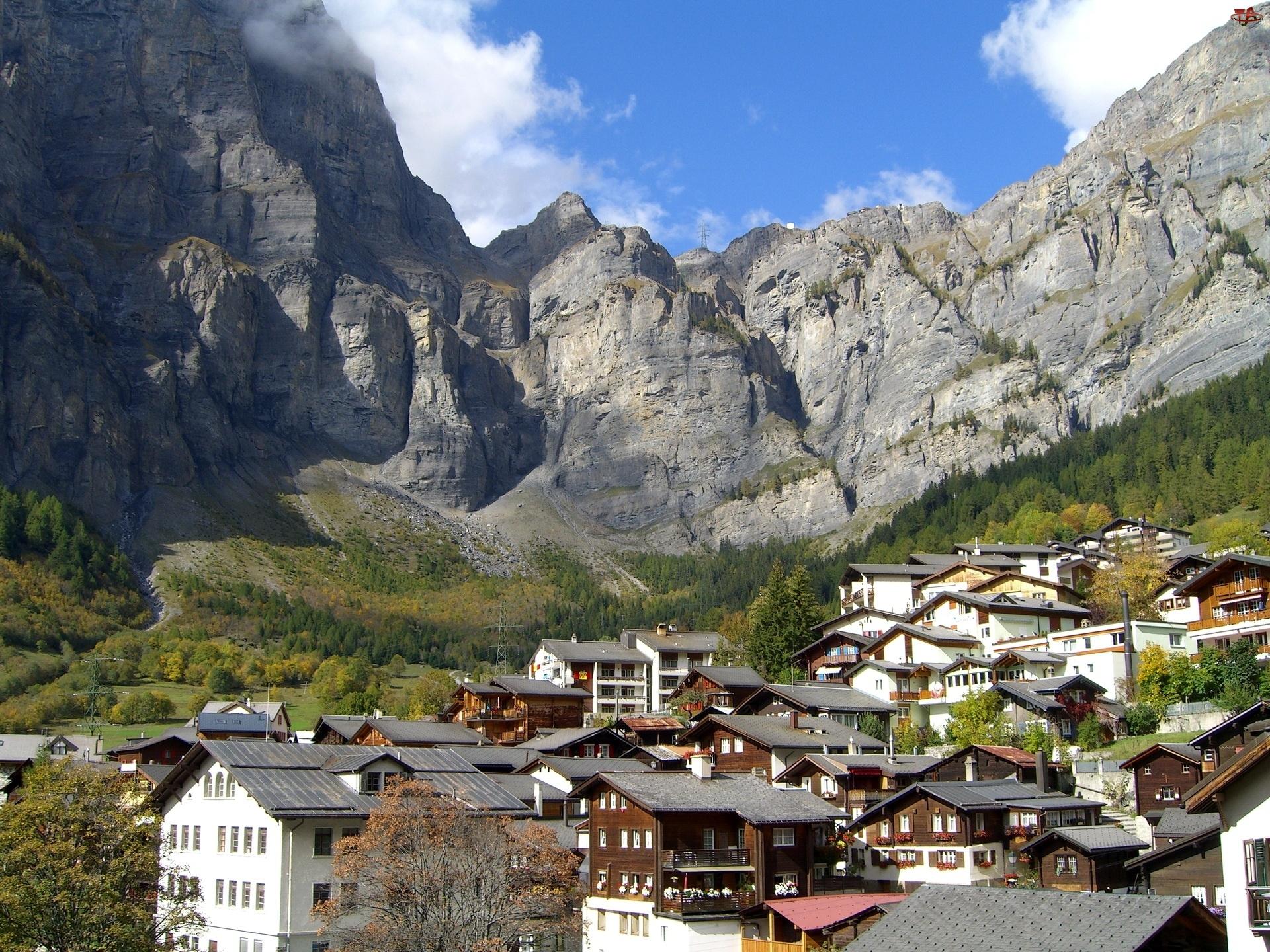 Miasteczko, Góry, Leukerbad, Szwajcaria