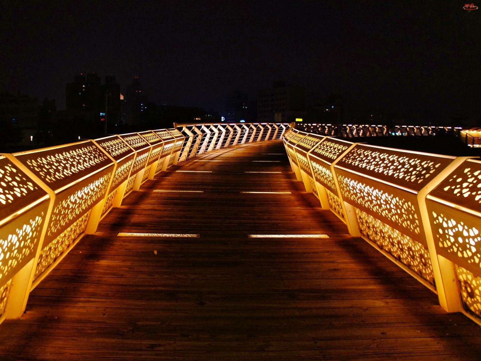 Noc, Oświetlony, Most
