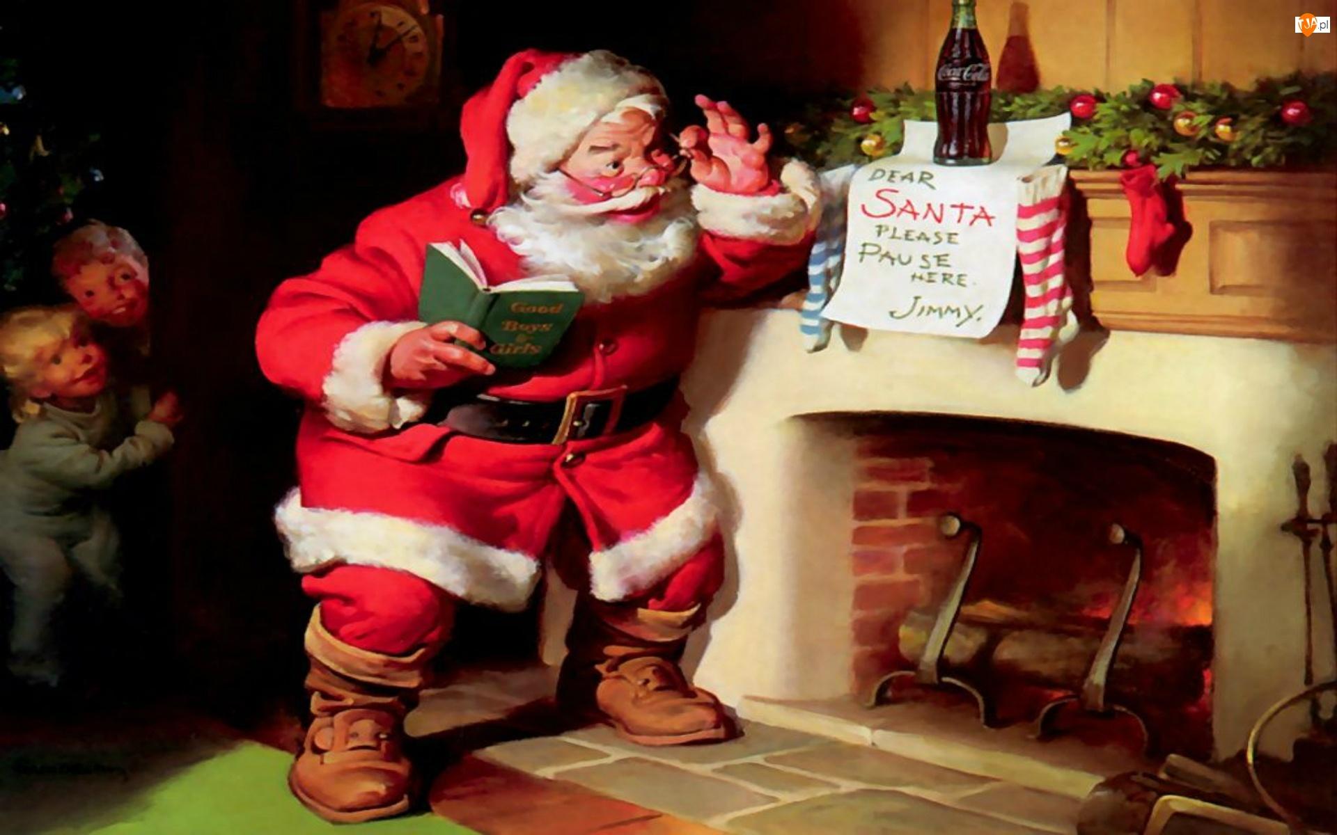 Malarstwo, Mikołaj, Boże, Kominek, Narodzenie