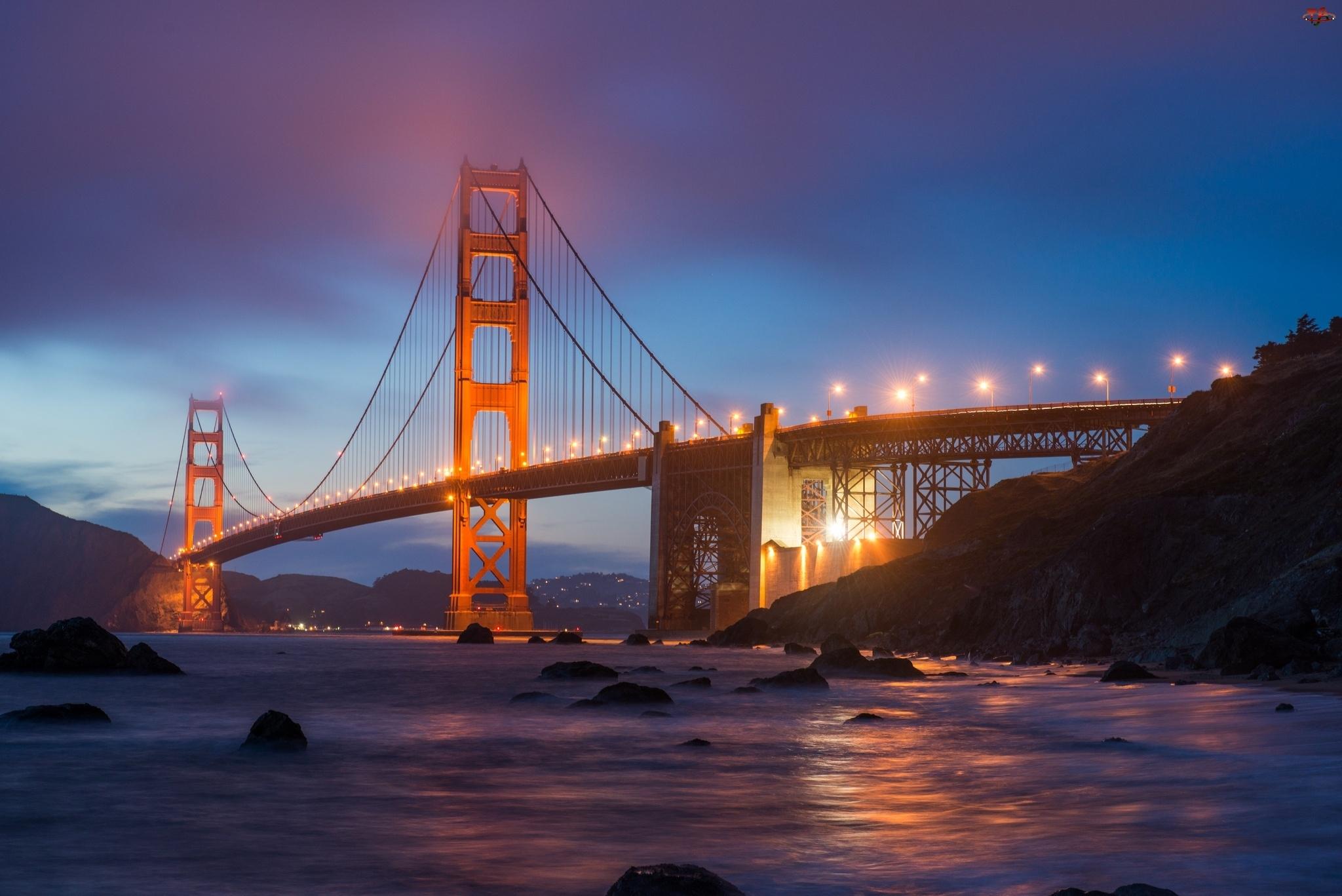 Golden Gate, Oświetlony, Most