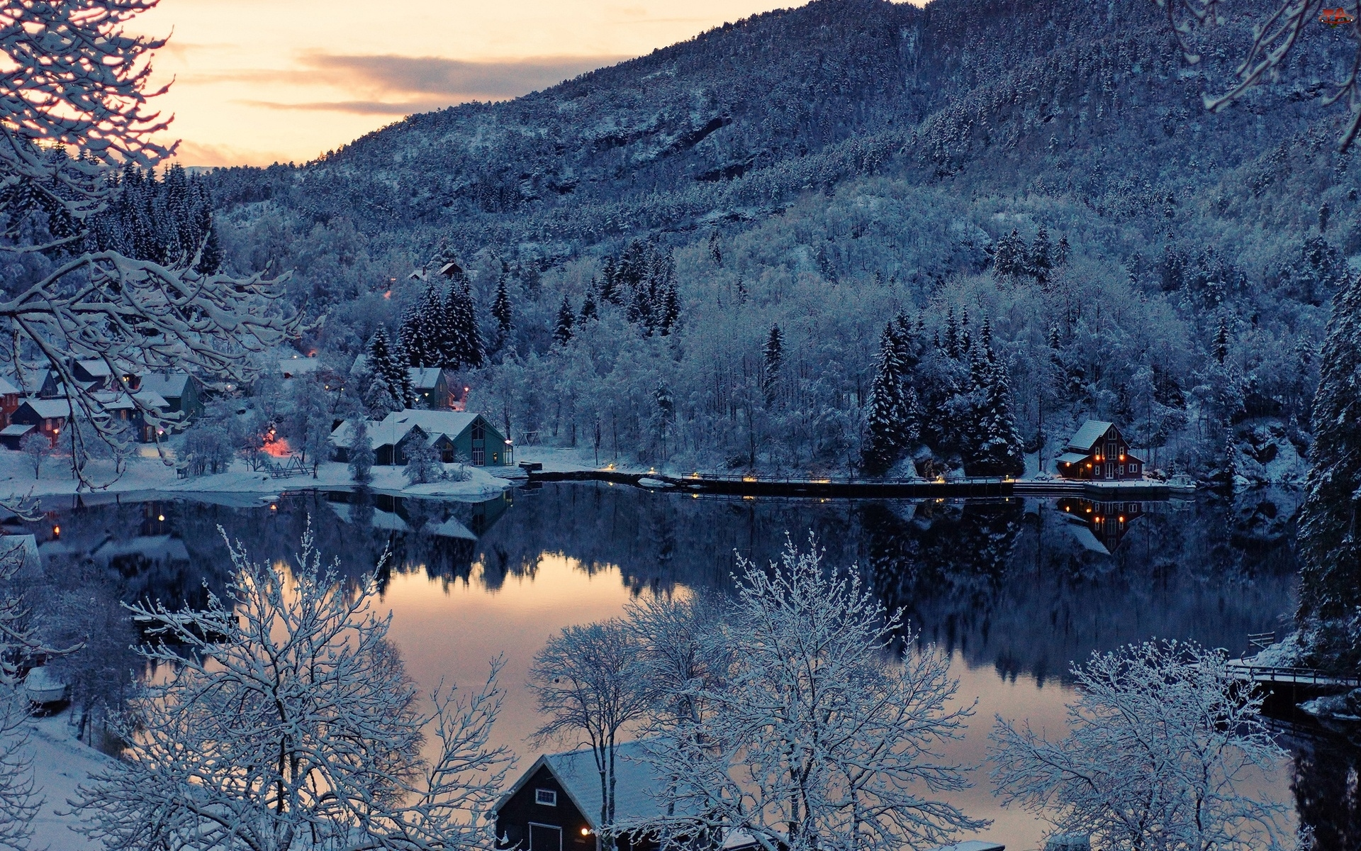 Noc, Rzeka, Domy, Góry, Zima