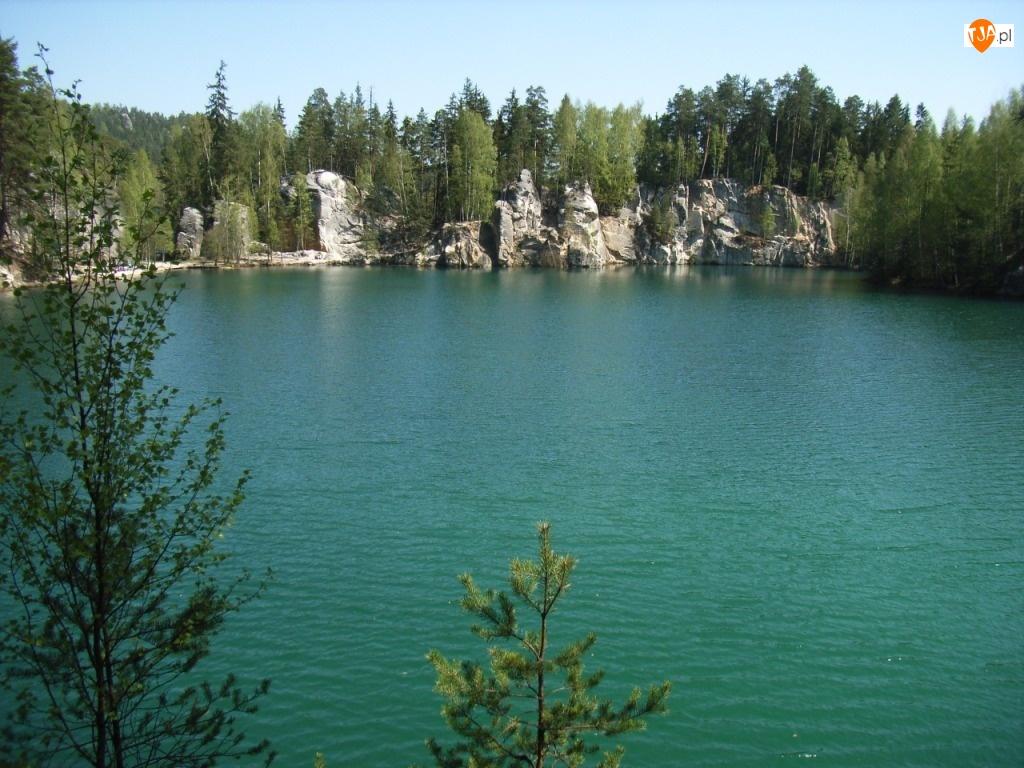 Jezioro, Czechy, Skały, Adrspach