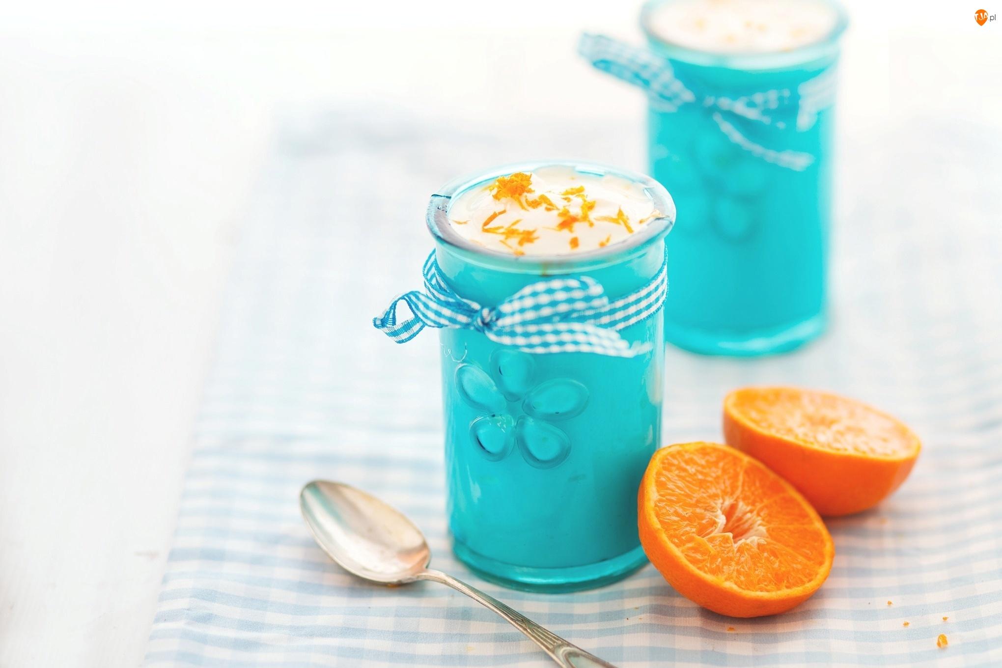 Deser, Pomarańcza, Niebieskie, Szklanki