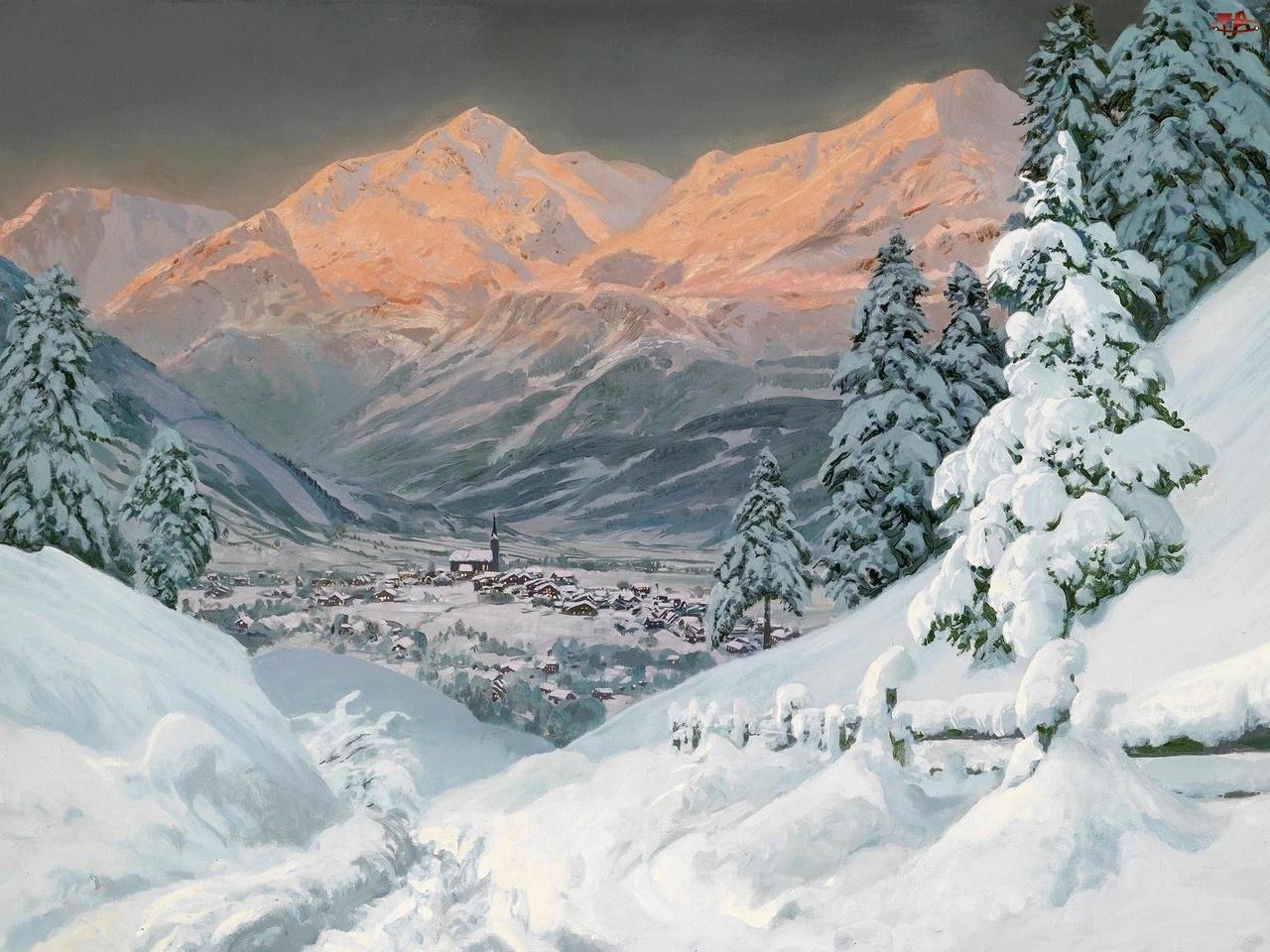 Zimowy, Góry, Zima Malarstwo, Alois Arnegger, Widoczek, Obraz