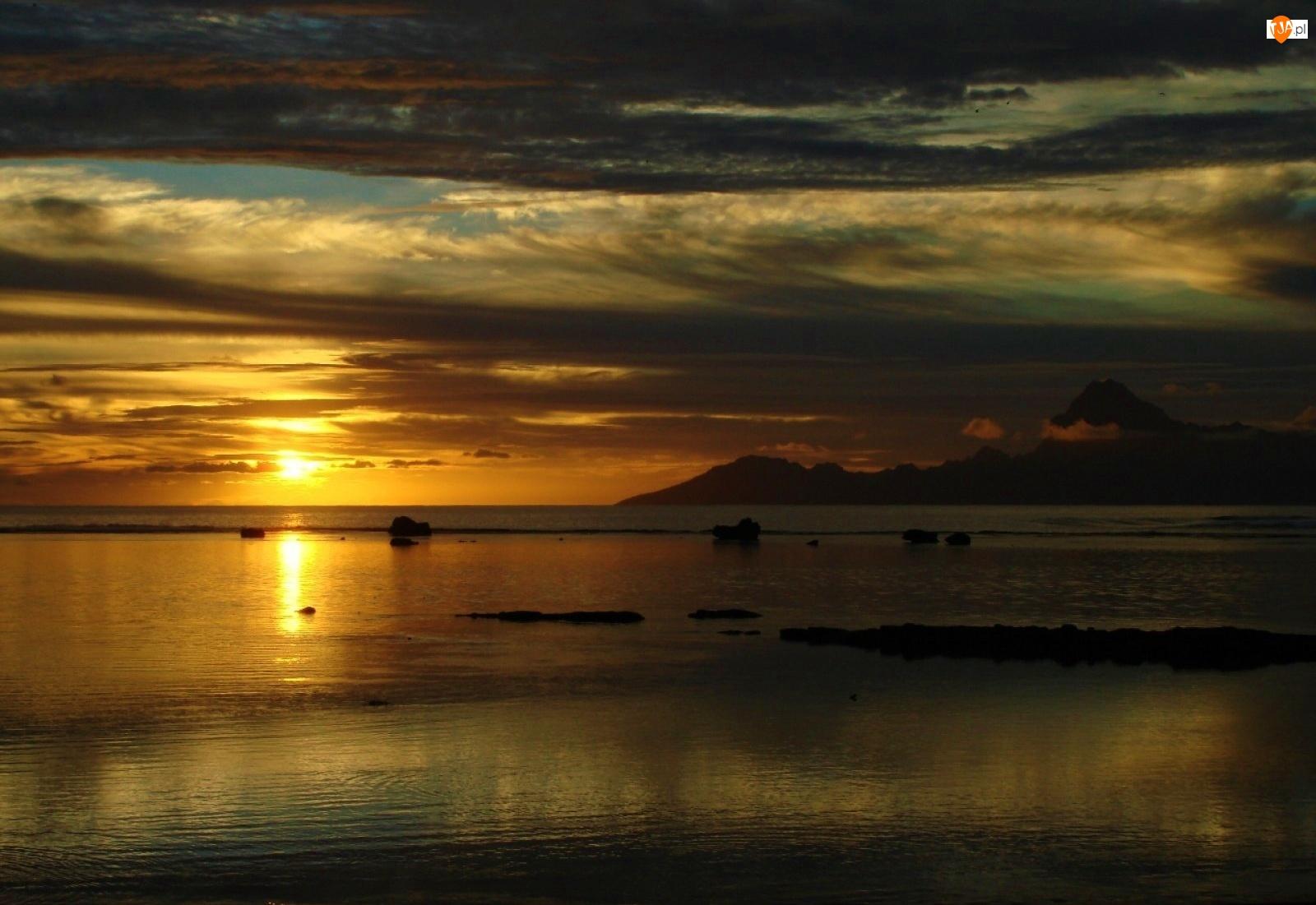 Jezioro, Zachód, Słońca