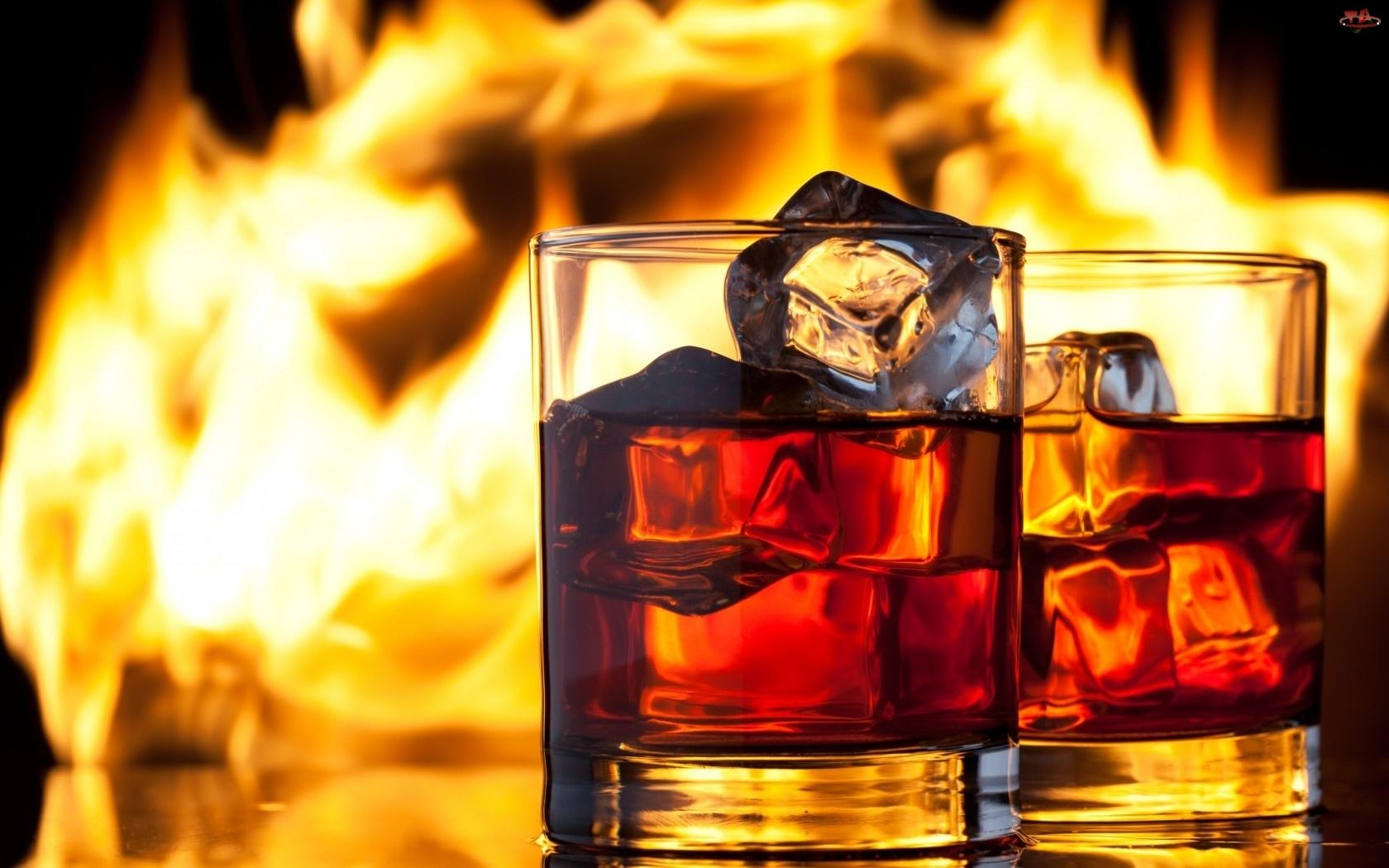 Płomienie, Szklanki, Kostki, Whisky, Lodu