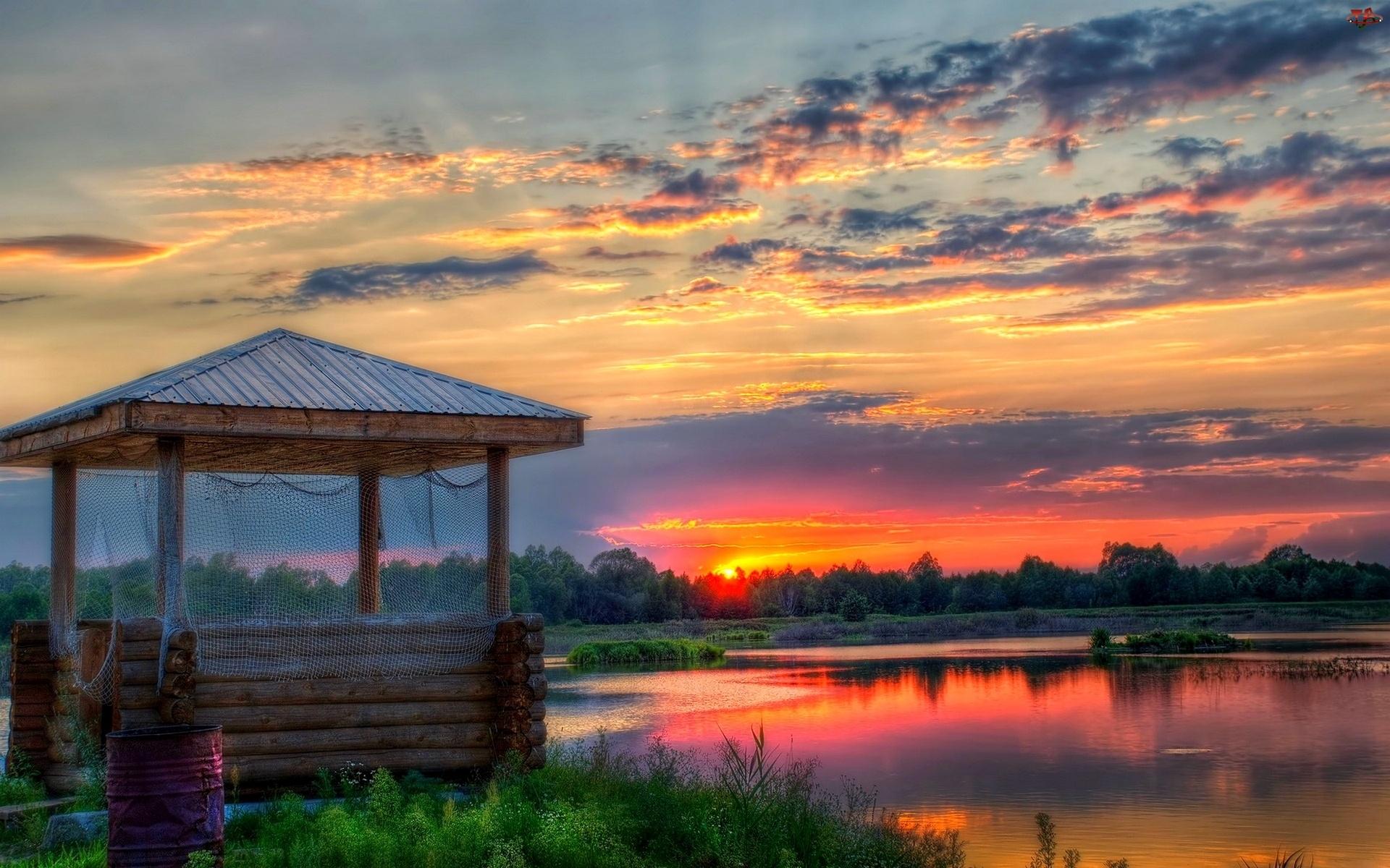 Zachód Słońca, Jezioro, Zadaszenie, Chmury