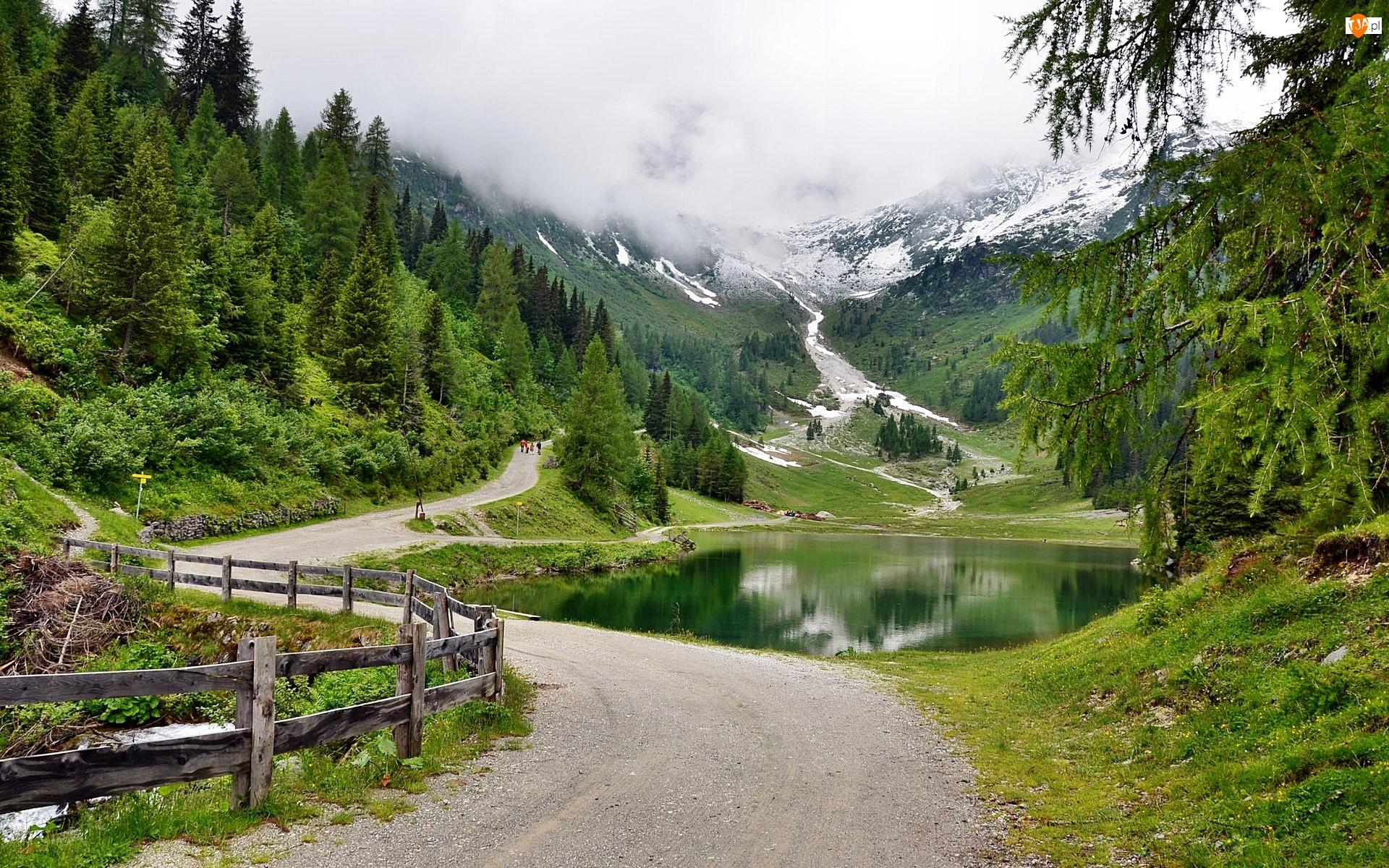 Austria, Droga, Góry, Jeziorko, Alpy