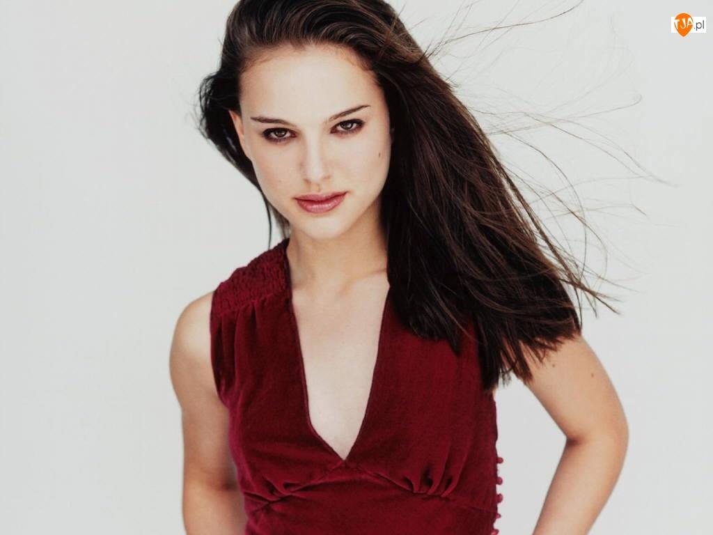Sukienka, Natalie Portman, Bordowa