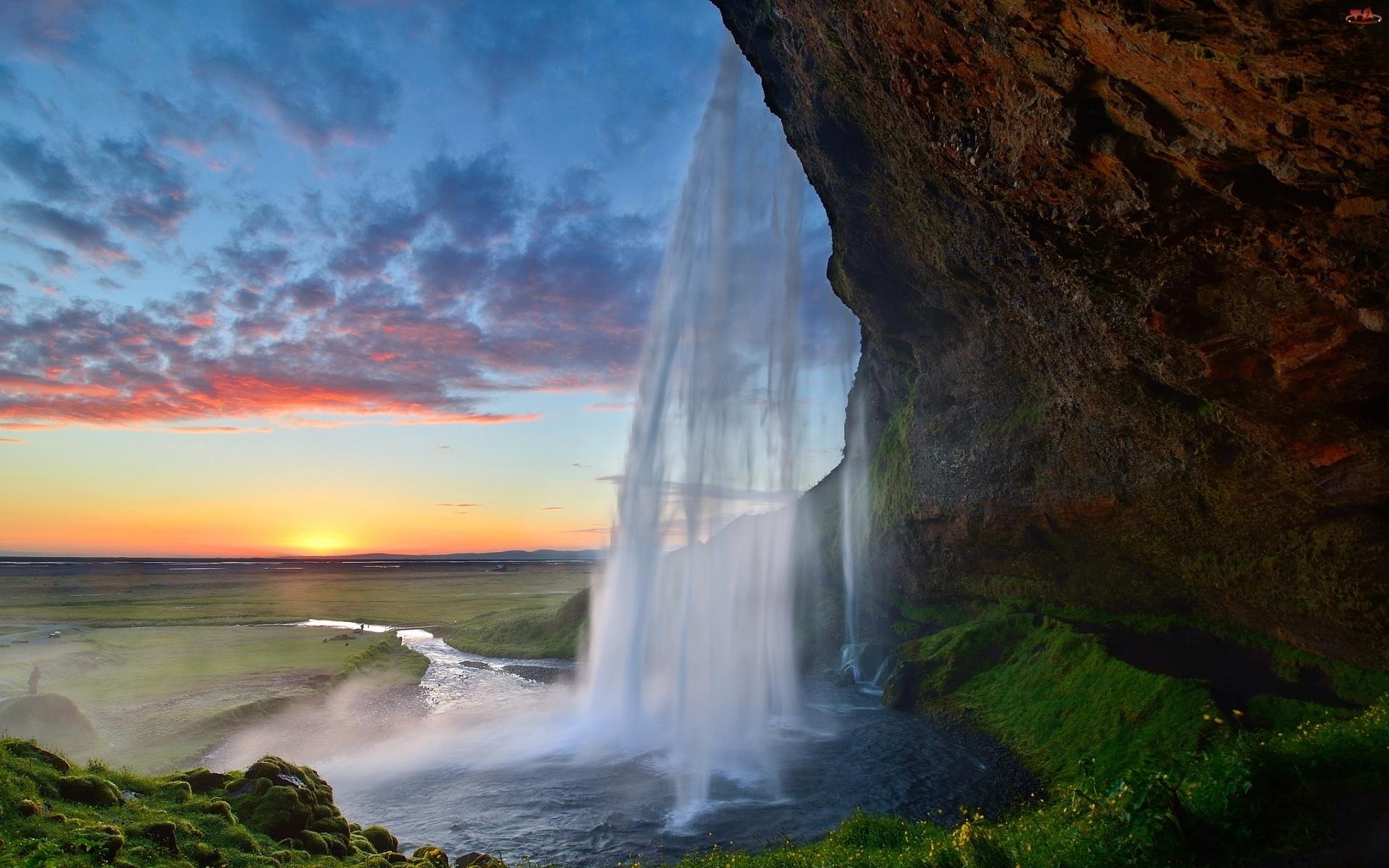 Islandia, Słońca, Wodospad, Zachód