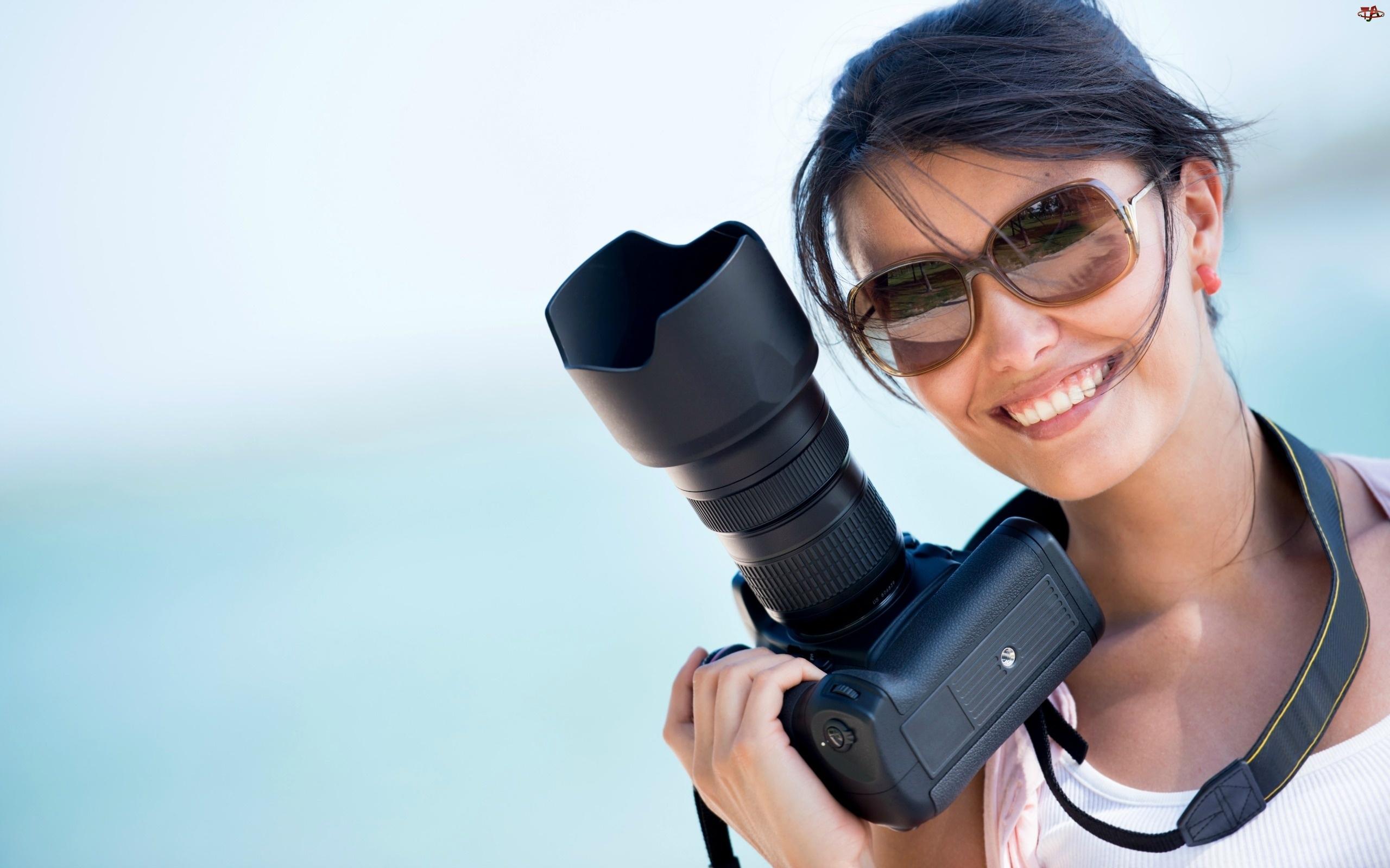 Fotograficzny, Kobieta, Okulary, Uśmiech, Aparat
