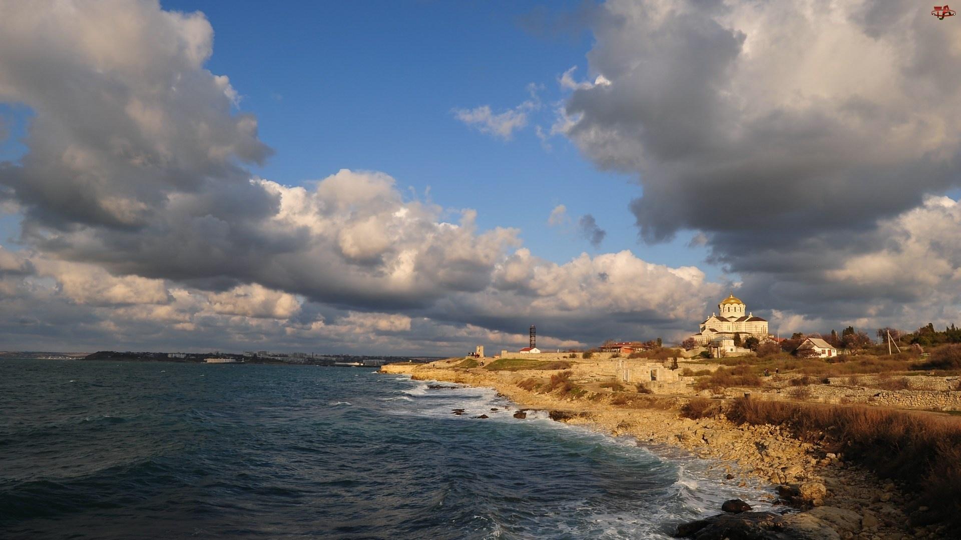 Krym, Morze, Chmury, Brzeg, Cerkiew