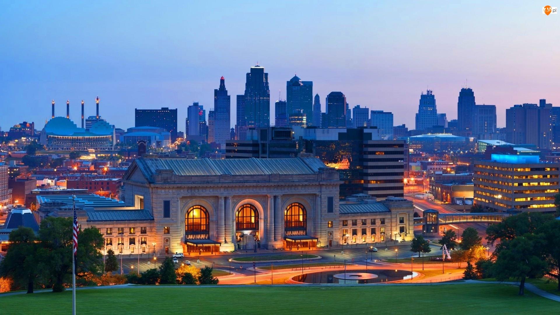 Kolejowy, Kansas, Stary, Miasto, Dworzec
