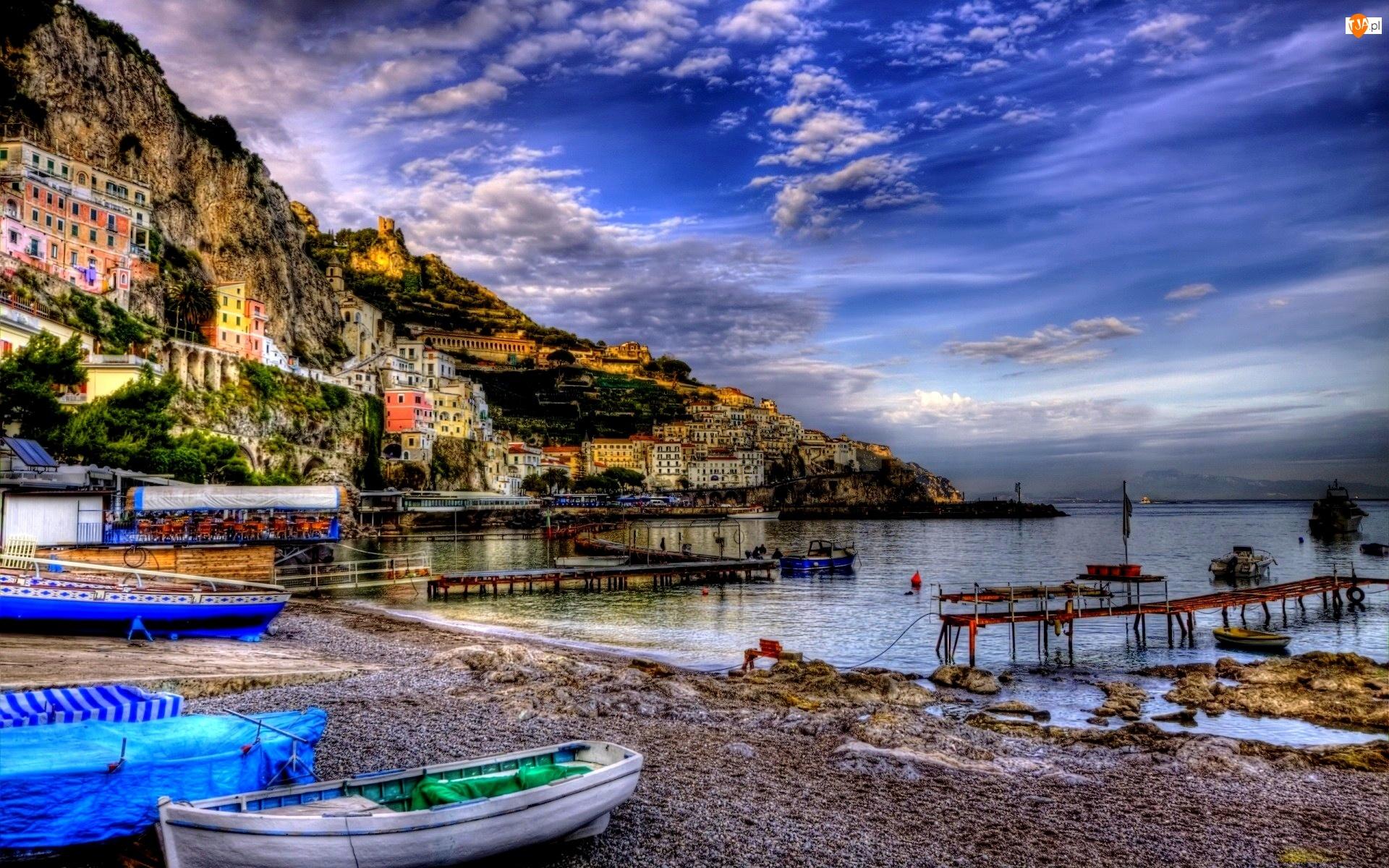 Włochy, Morze, Domy, Łódki, Riomaggiore