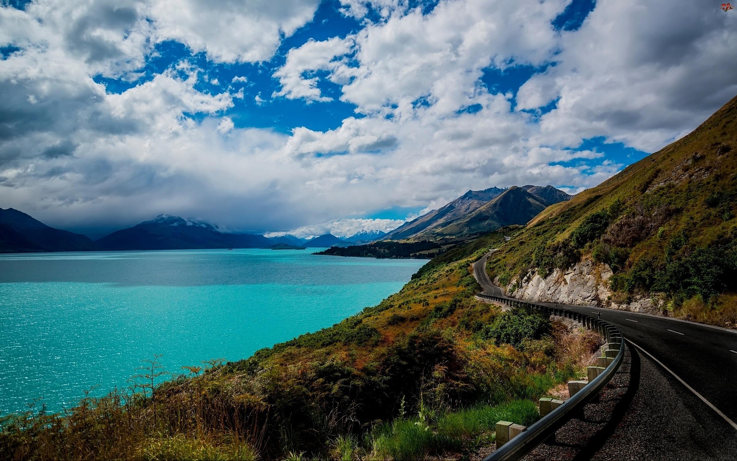 Góry, Queenstown, Jezioro Wakatipu, Nowa Zelandia, Droga