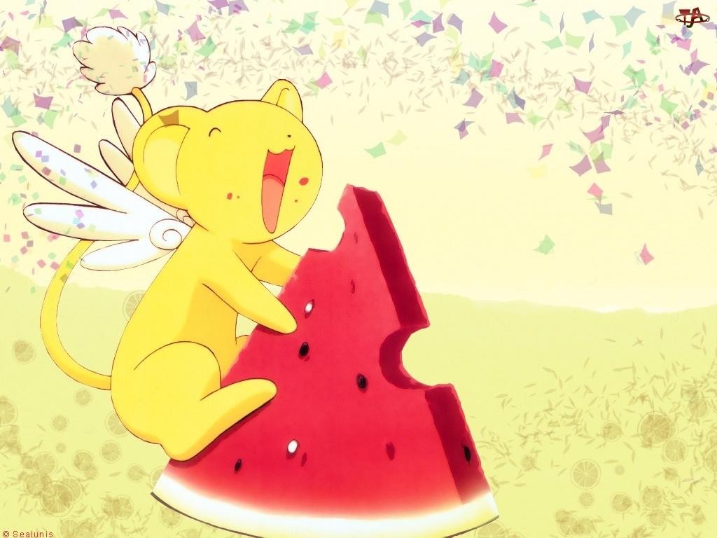 Cardcaptor Sakura, skrzydła, arbuz, mysz
