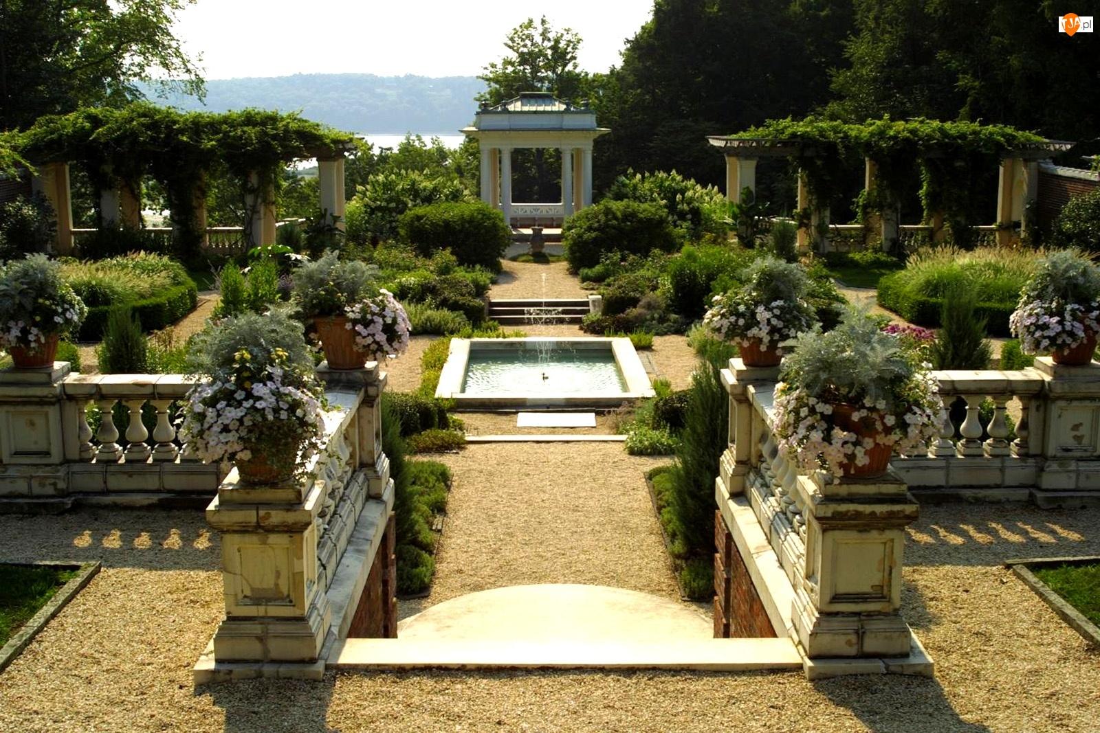 Rośliny, Ogródek, Fontanna