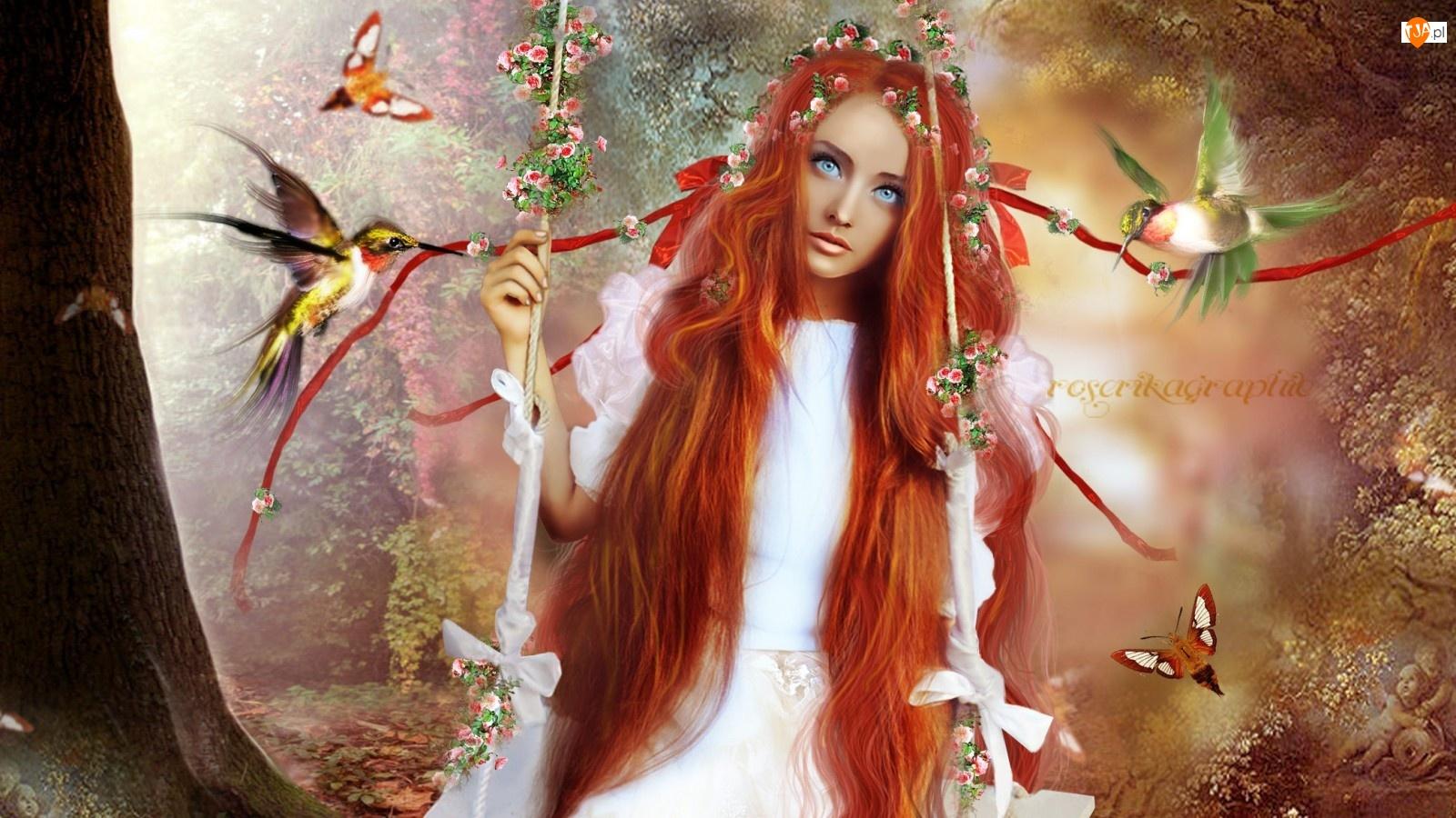 Fantasy, Huśtawka, Kobieta, Ptaki