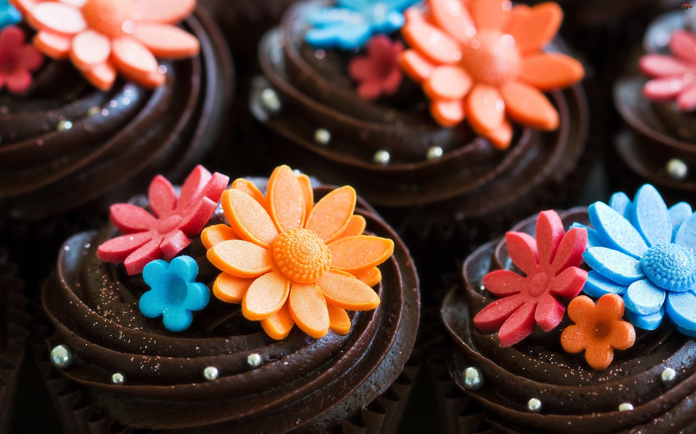 Czekoladowe, Kwiatki, Ciasteczka, Kolorowe
