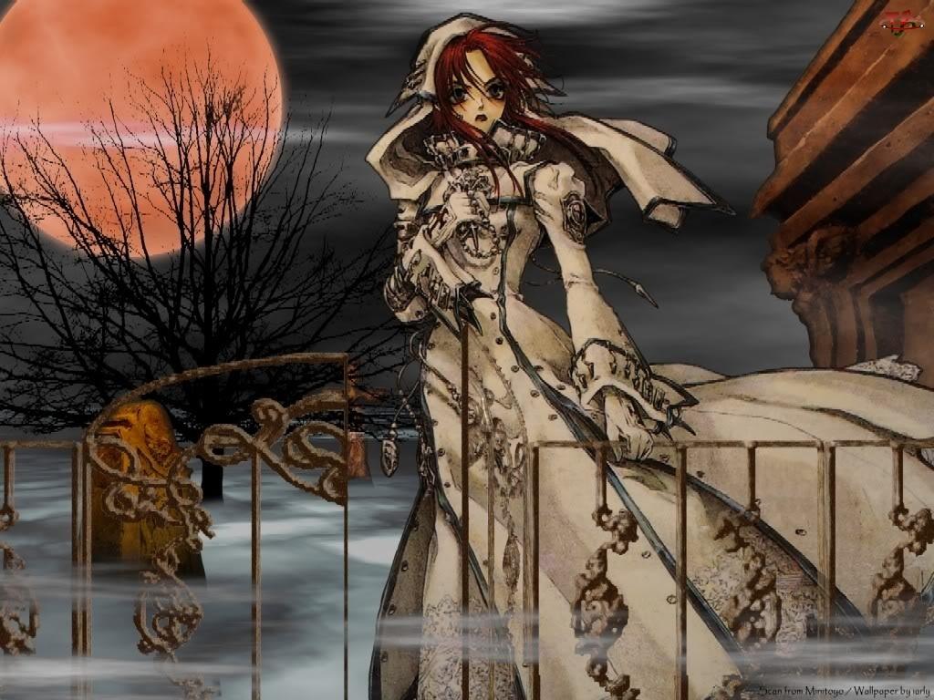 mgła, Trinity Blood, księżyc, kobieta, cmentarz